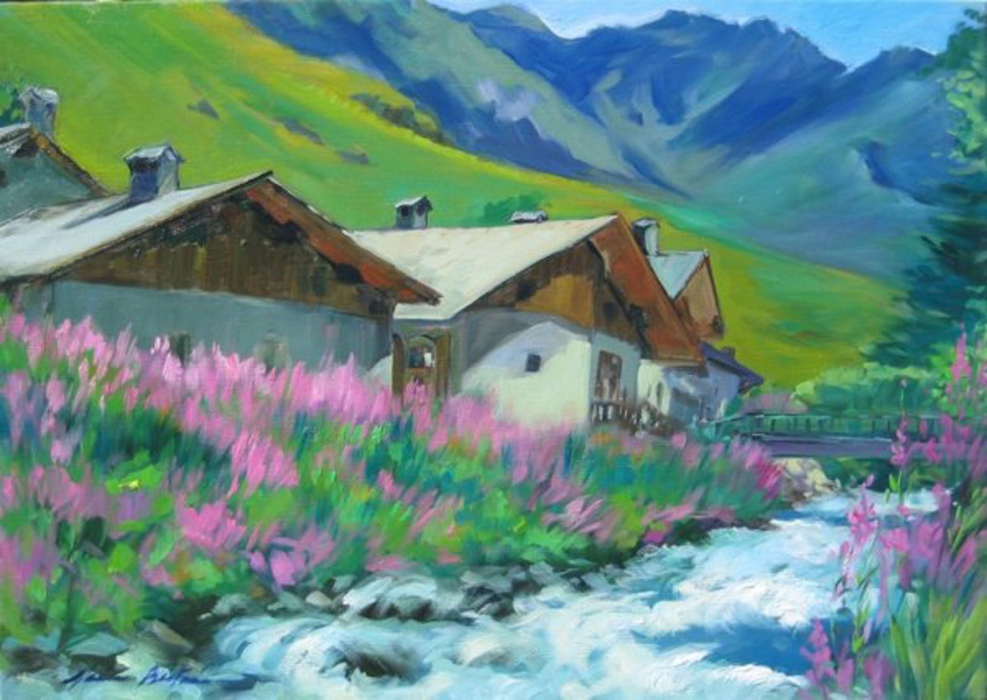 Bertran: River By Alpine Chalets by Maria Bertrán