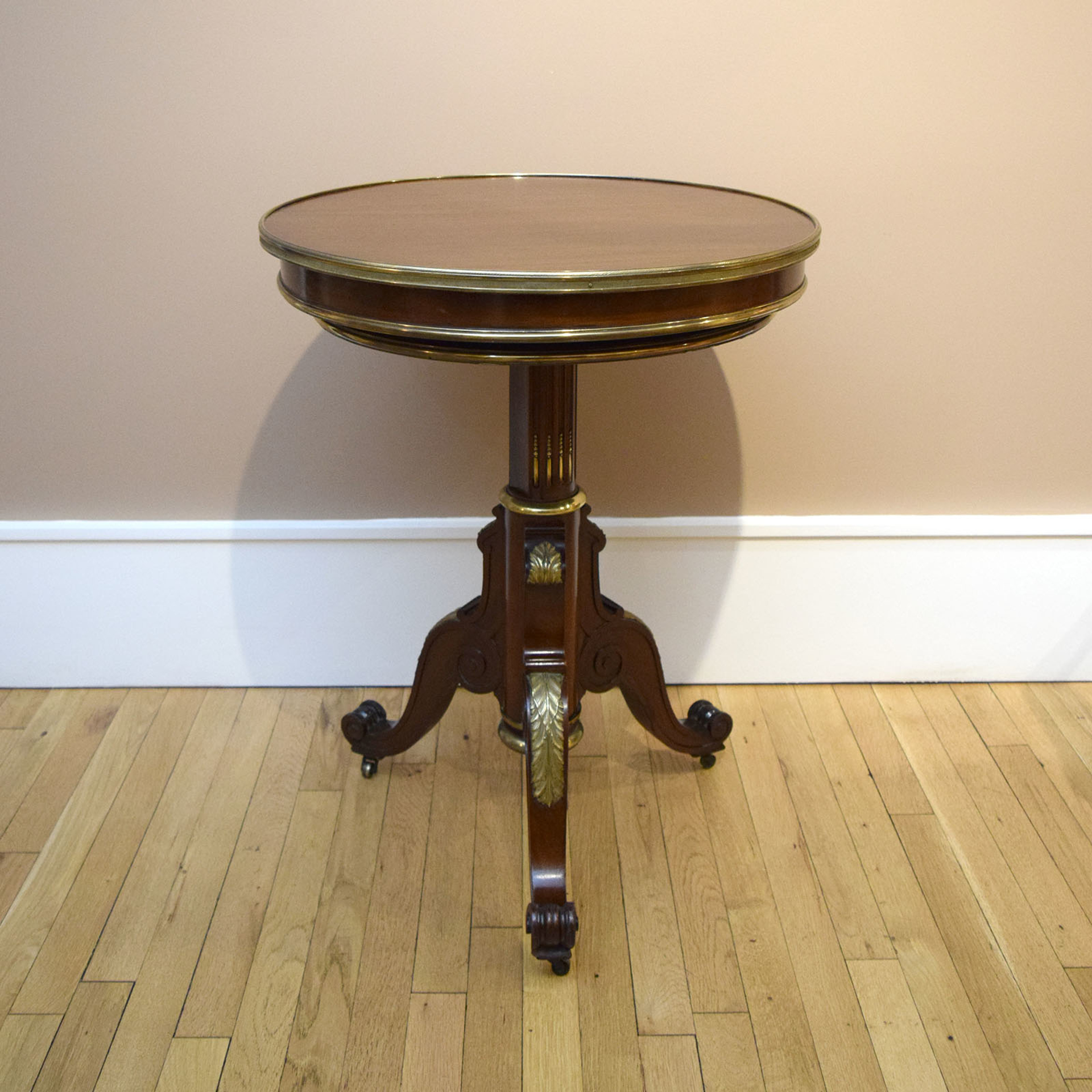 REGENCY BRASS MOUNTED MAHOGANY COLLAPSIBLE STAND