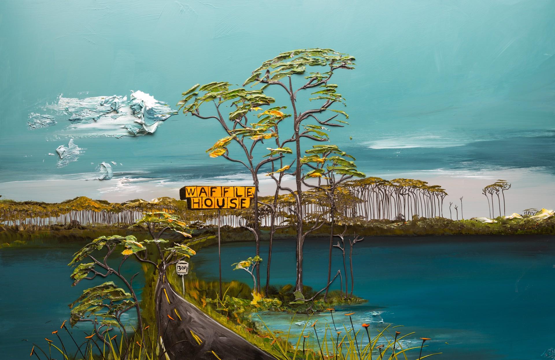 WESTERN LAKE WAFFLE HOUSE-72X48-2020-014 by JUSTIN GAFFREY