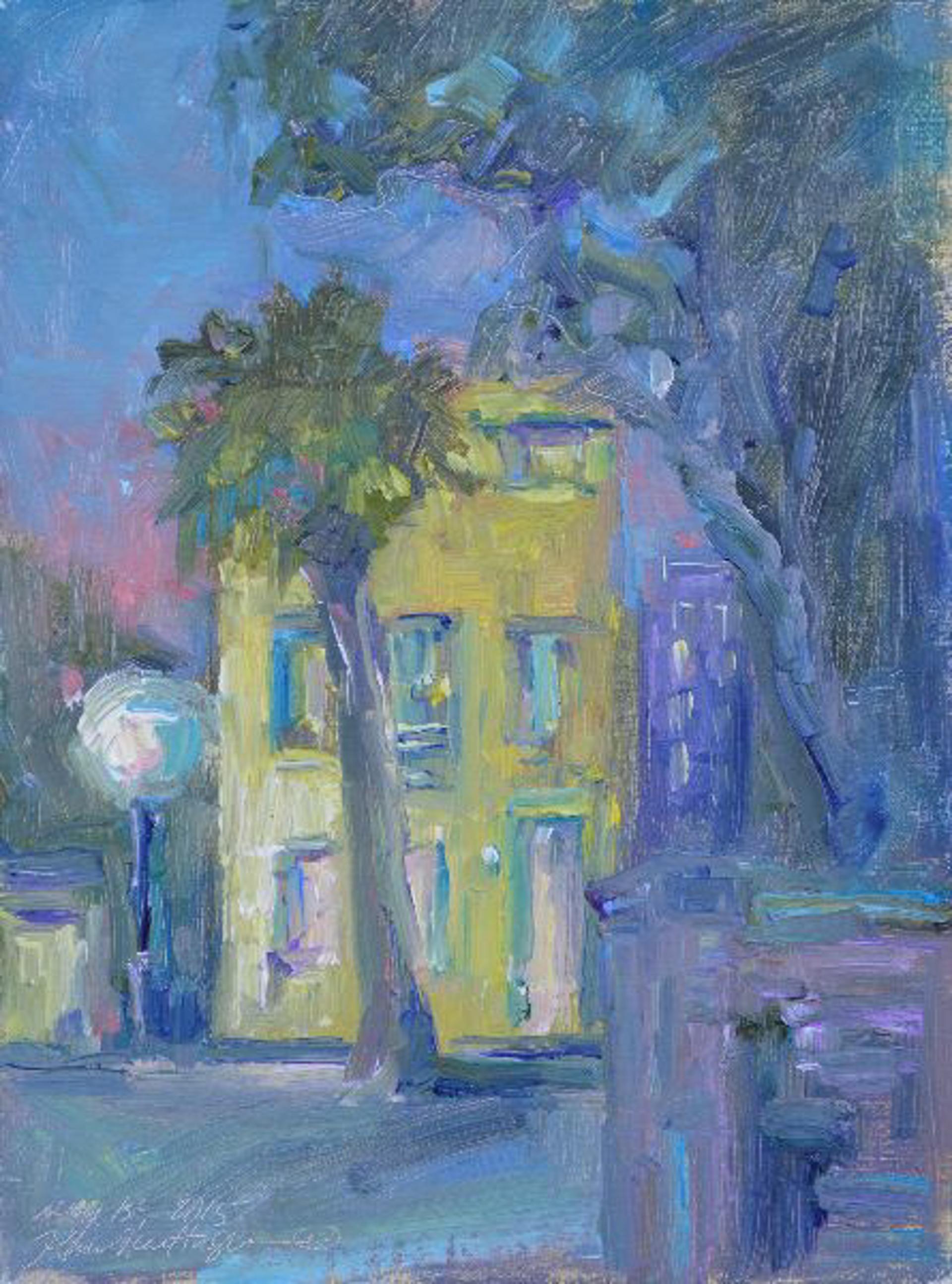 Little House On Church Street At Night by Karen Hewitt Hagan