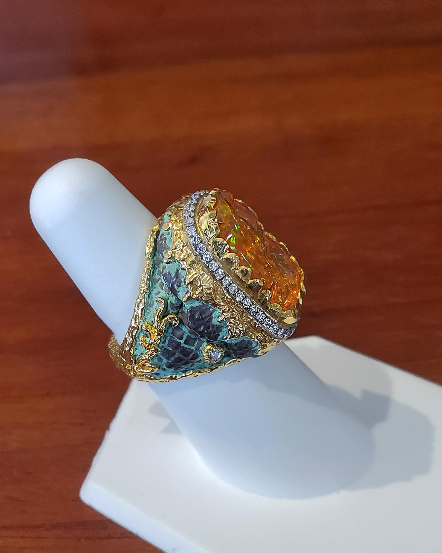 Fire Opal Ring by Victor Velyan
