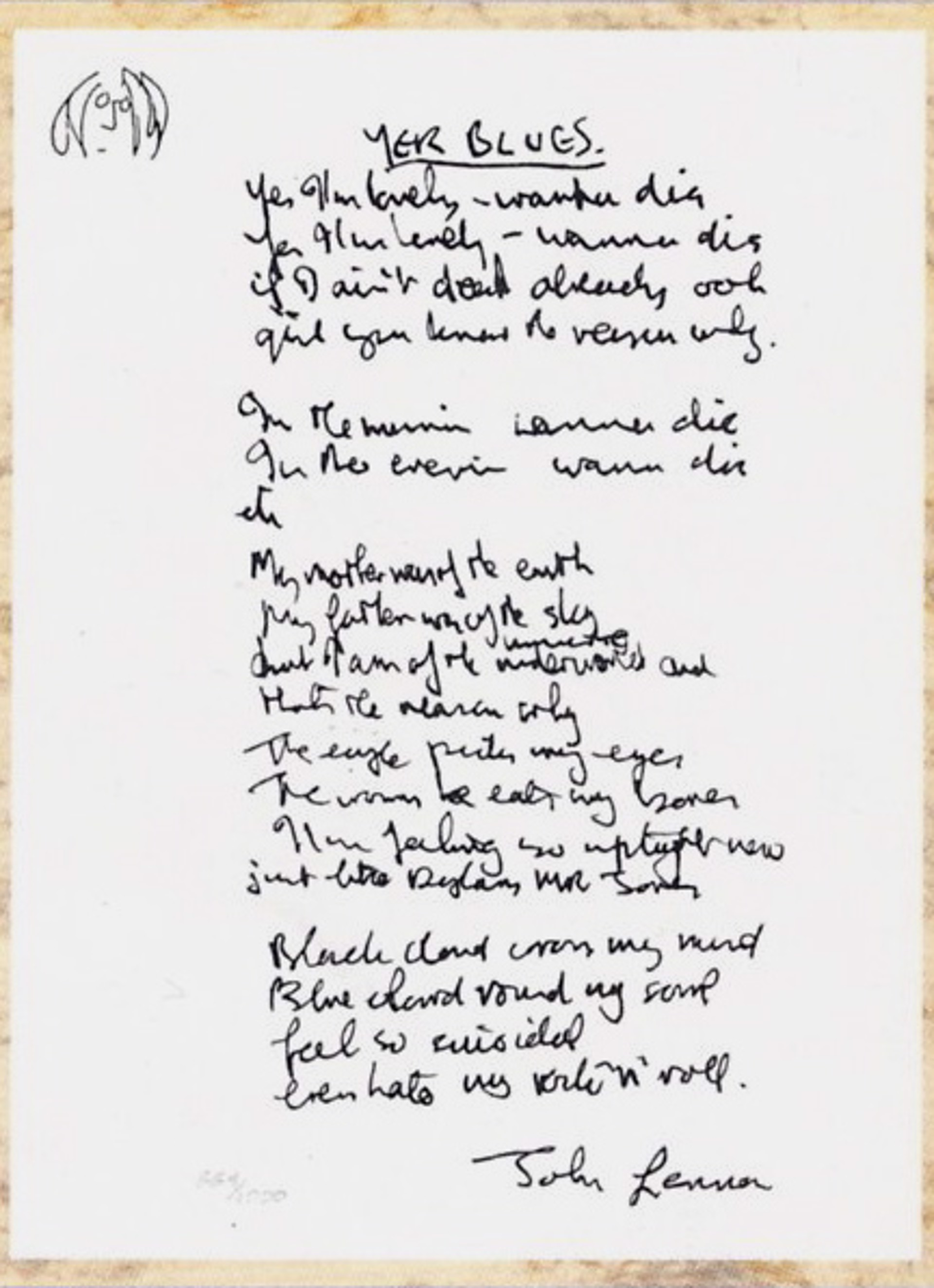 """Yer Blues"" Lyrics by John Lennon"