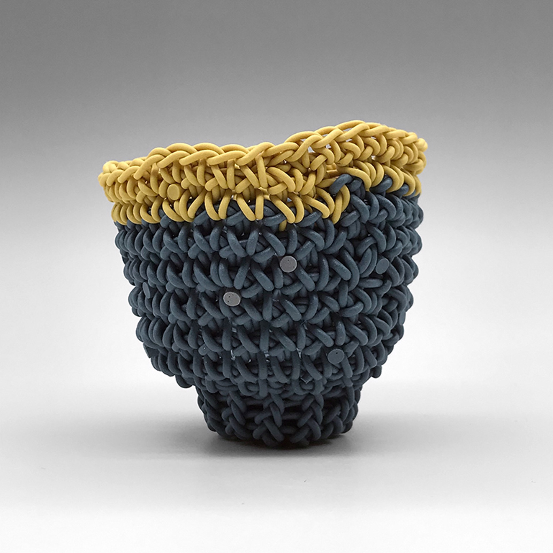 Tea Bowl (Denim w/Mustard Rim) by Jeremy Brooks