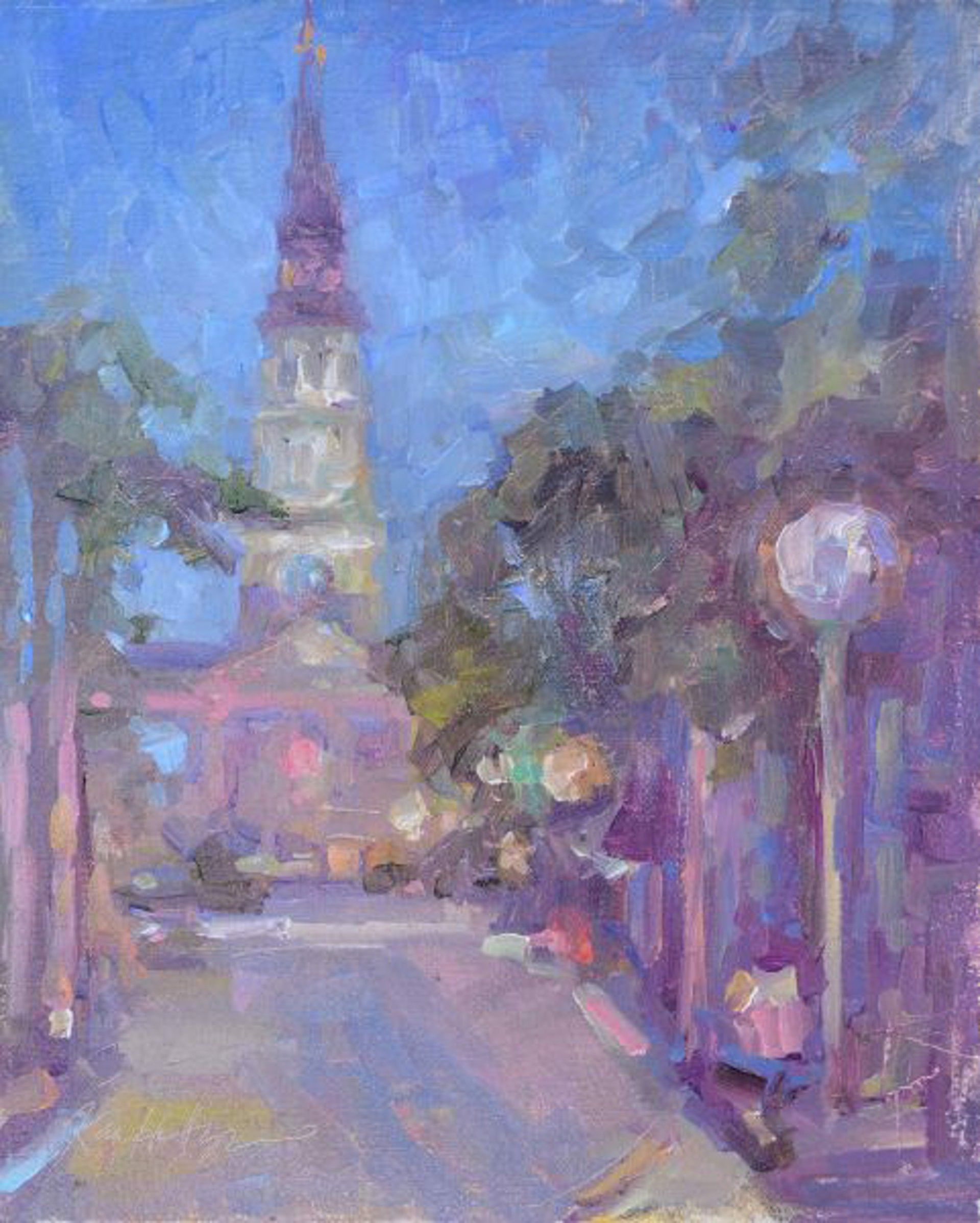Lights at the End of the Road (St Philip's Church) by Karen Hewitt Hagan