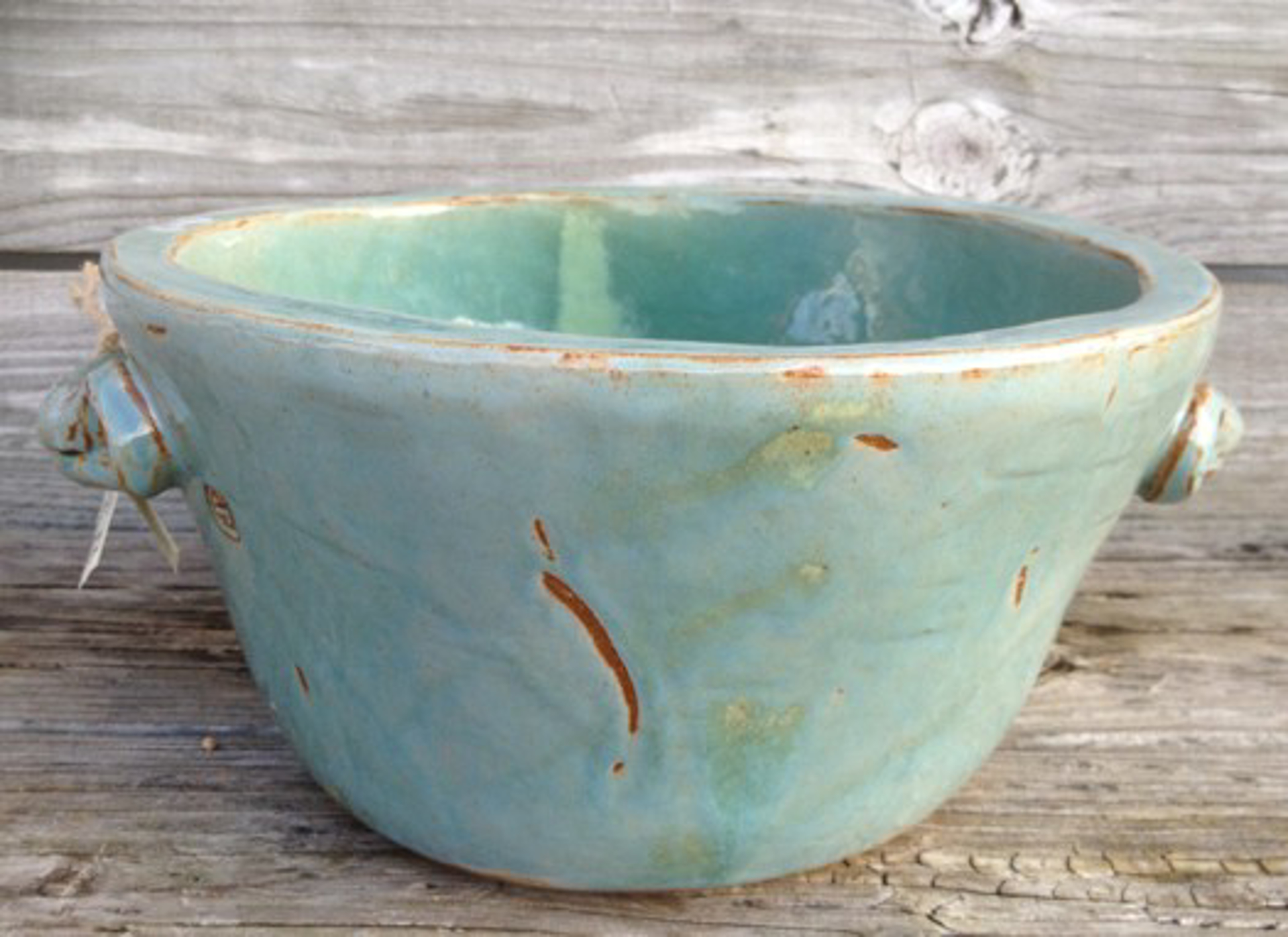 Large Turquoise Bowl with handles by Jim Jones