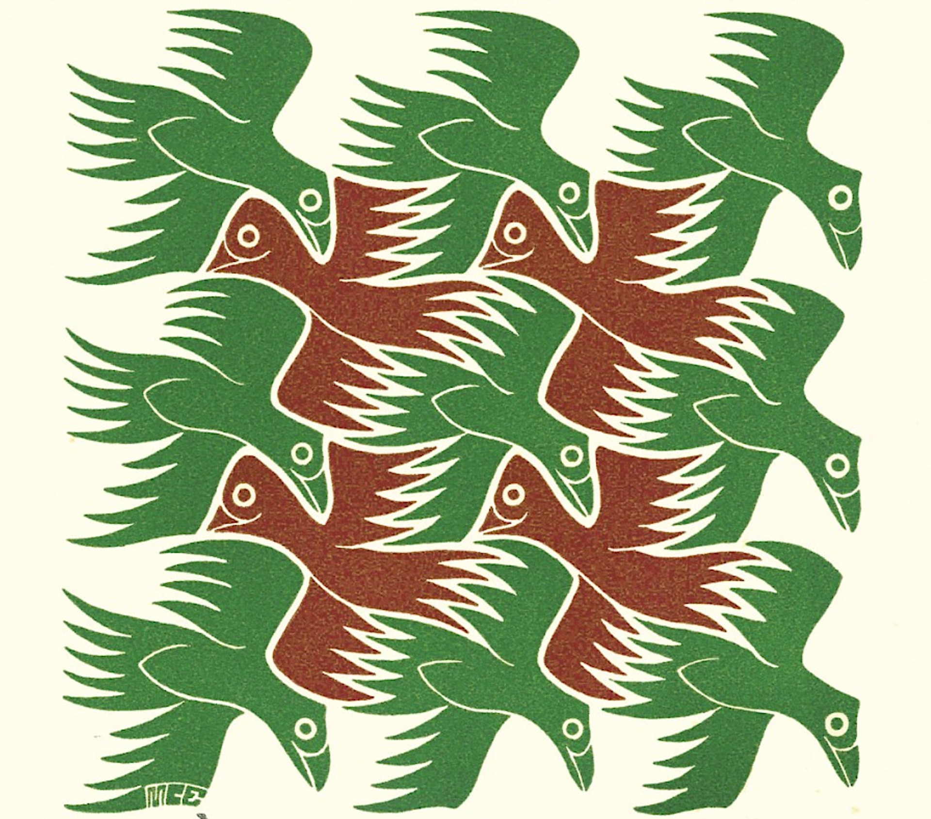 Air - Strens New Year's Greeting Card (Birds) by M.C. Escher