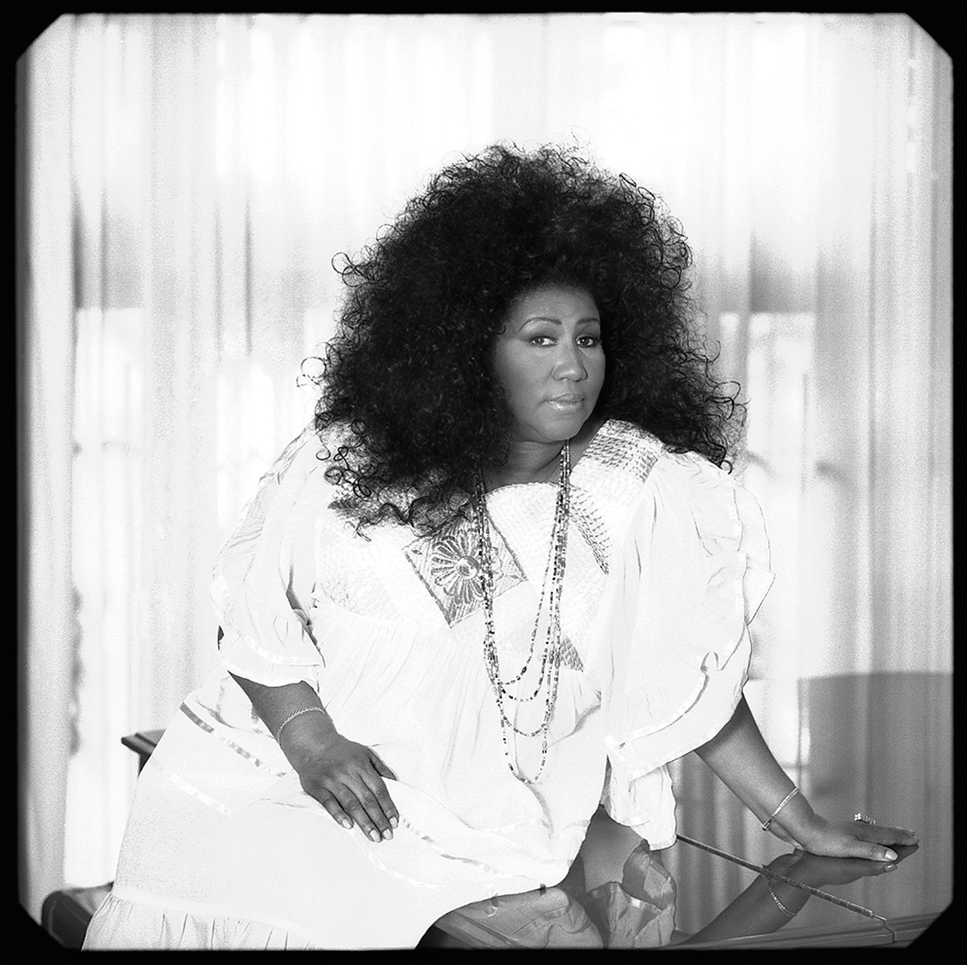 96089 Aretha Franklin Afro BW by Timothy White