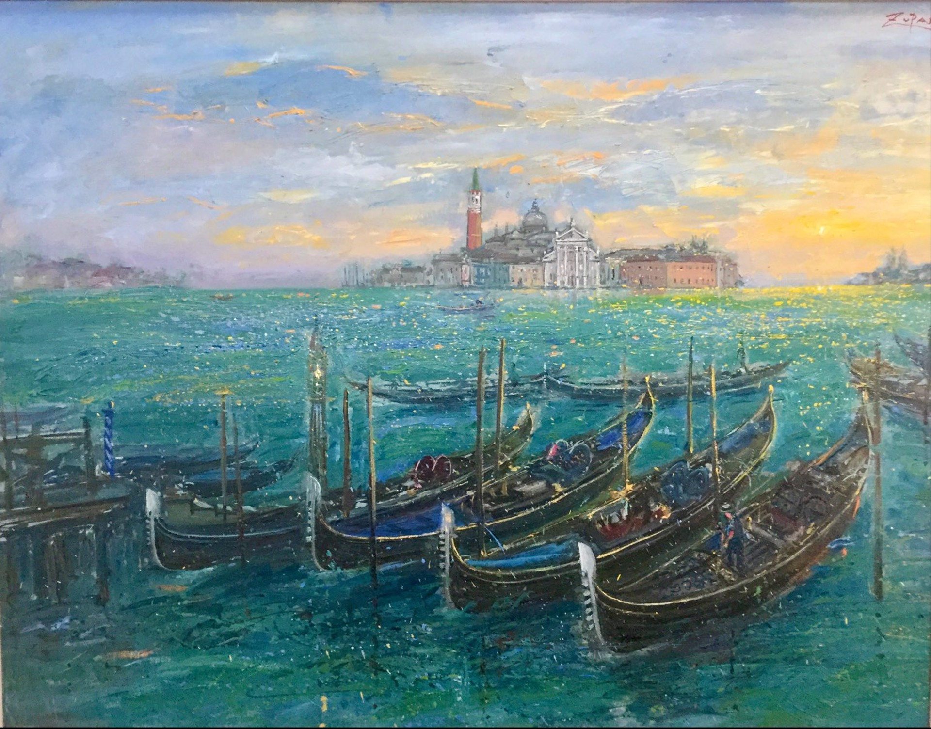 Gondolas In Venice by Bruno Zupan