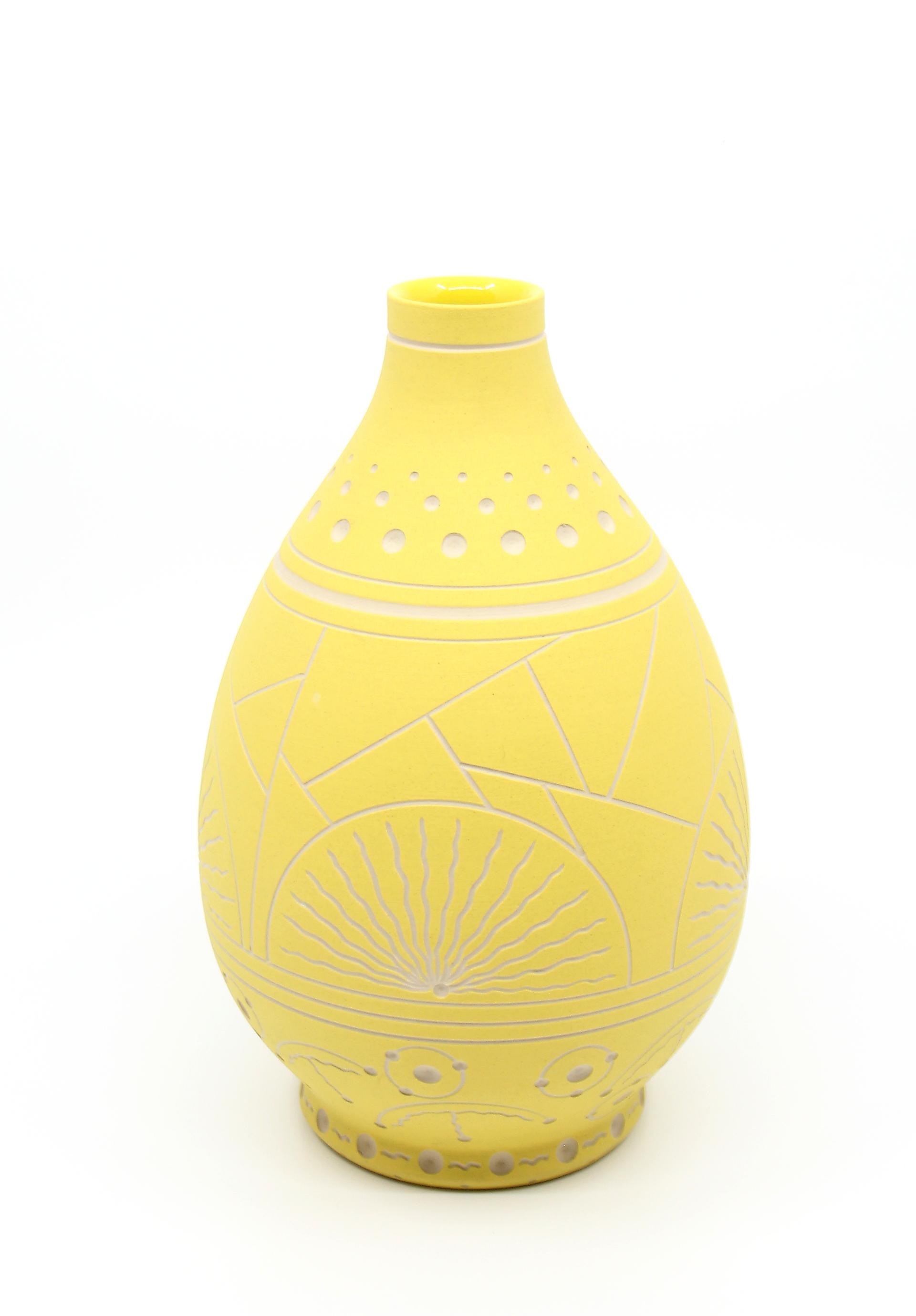 Yellow Teardrop Vase by Chris Casey