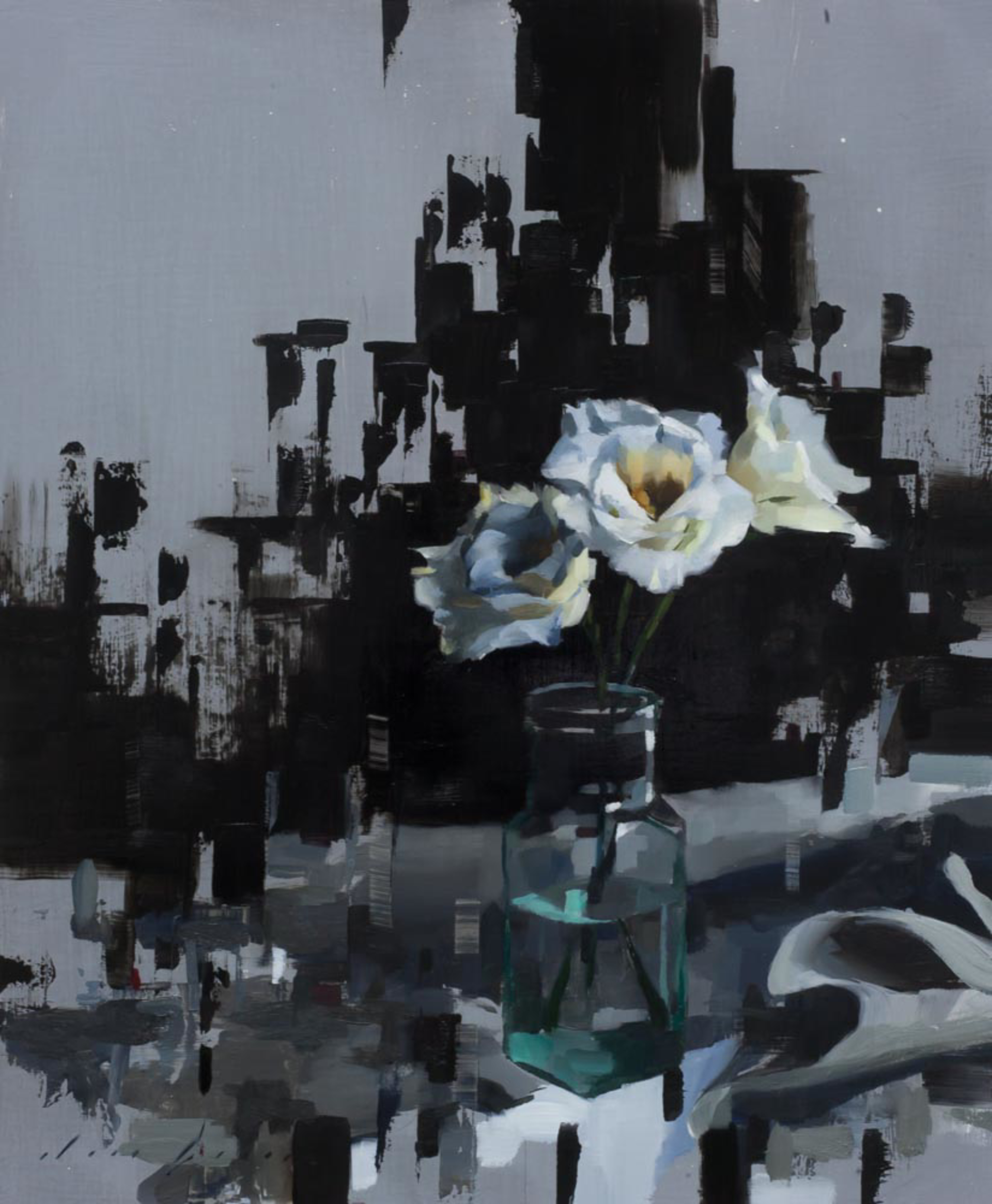 Lisianthus and Black by Jon Doran