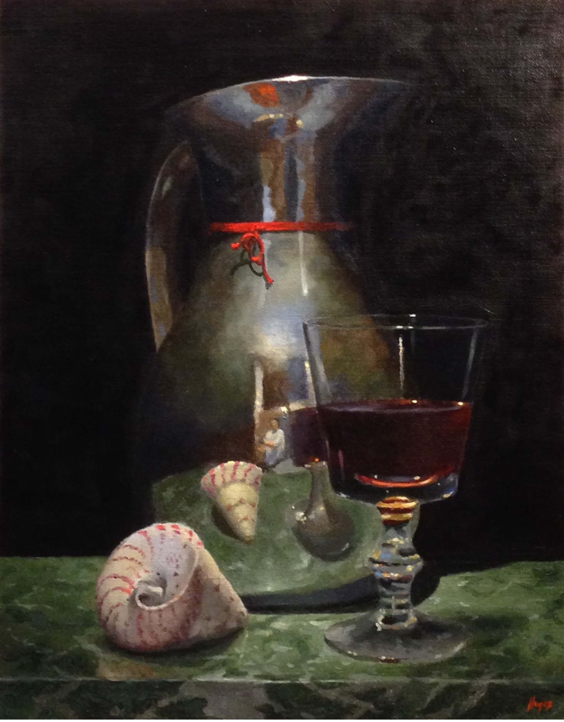 Silver Pitcher, Red Wine, Shell by Jeffrey Hayes