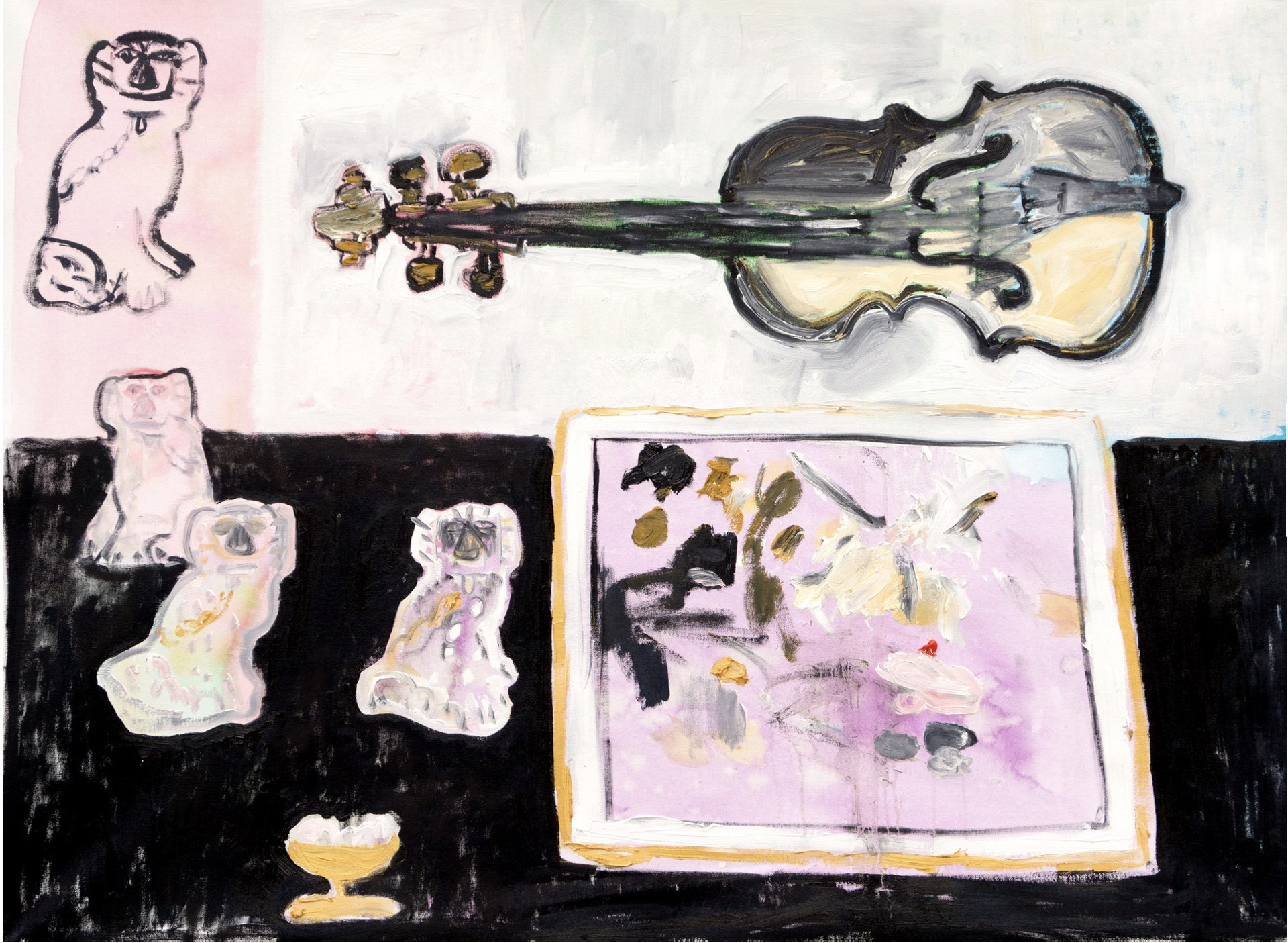 Still Life with Violin and Four Dogs by Anne-Louise Ewen