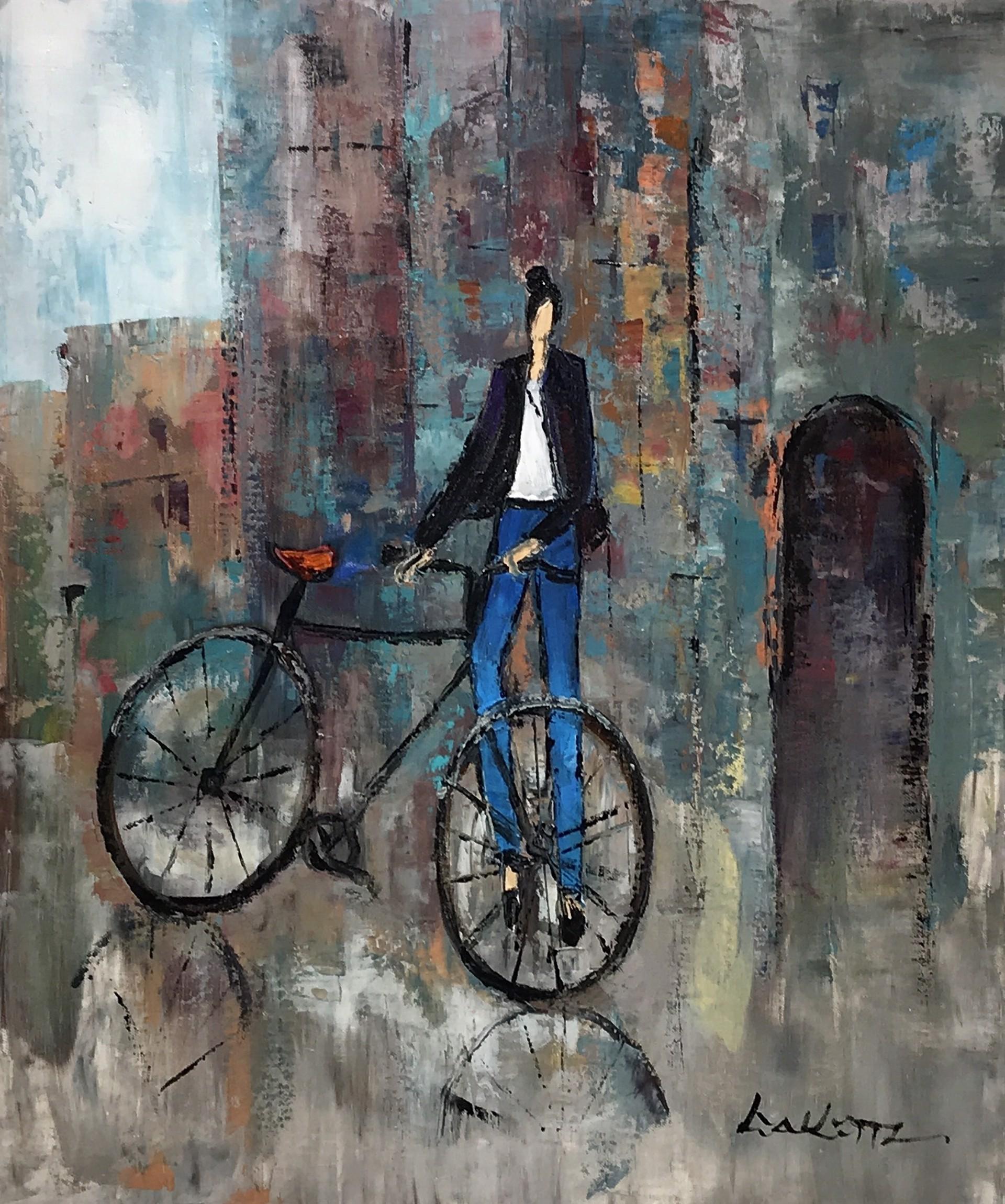 CYCLIST IN DENIM AND DARK JACKET by LIA KIM