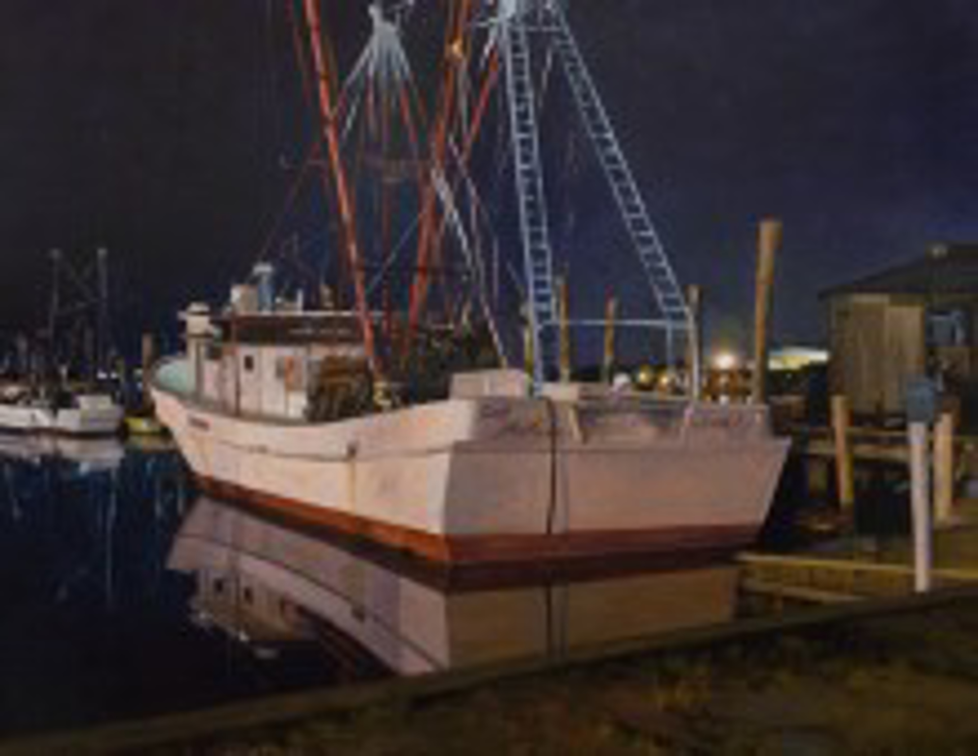 Docked After Dark (Clyde Phillips, Swansboro) by Steven S. Walker