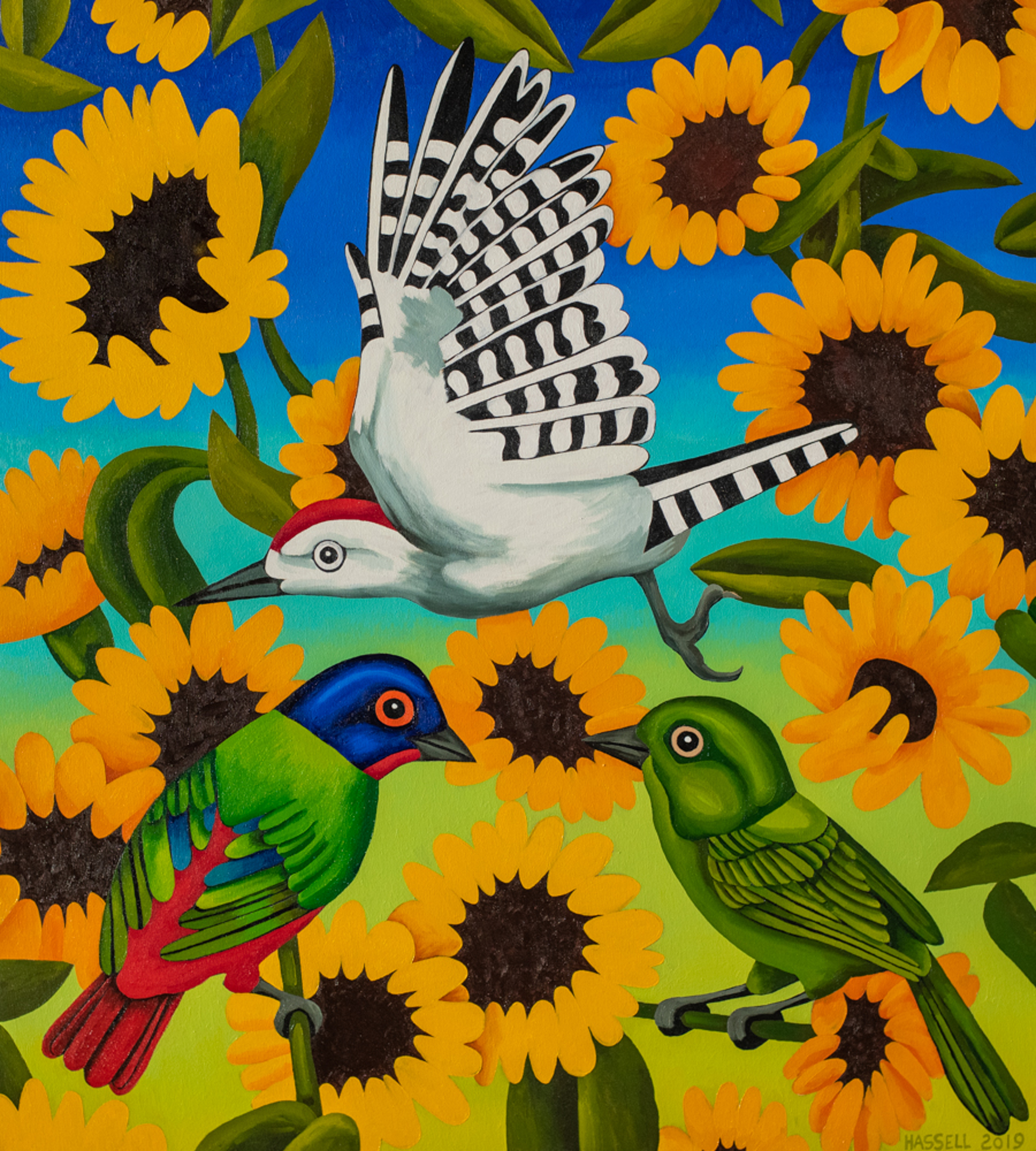 Painted Buntings and Sunflowers by Billy Hassell