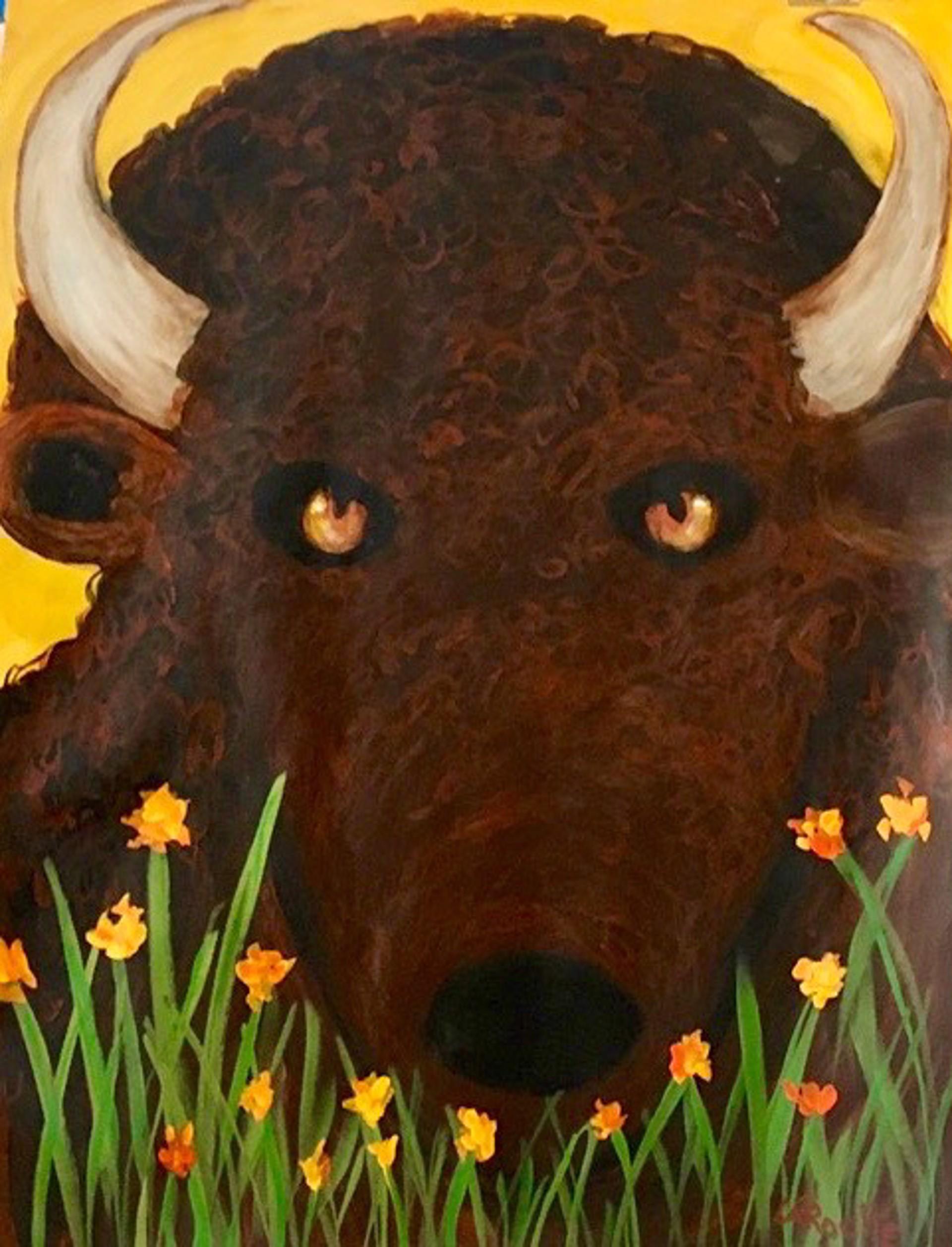 In the Garden: Brown Buffalo by Carole LaRoche