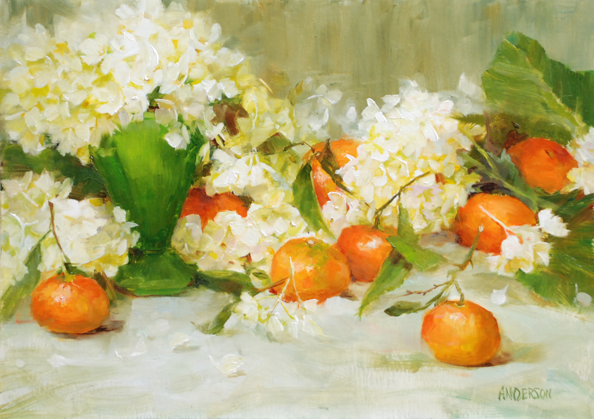 Mandarins and Hydrangea by Kathy Anderson