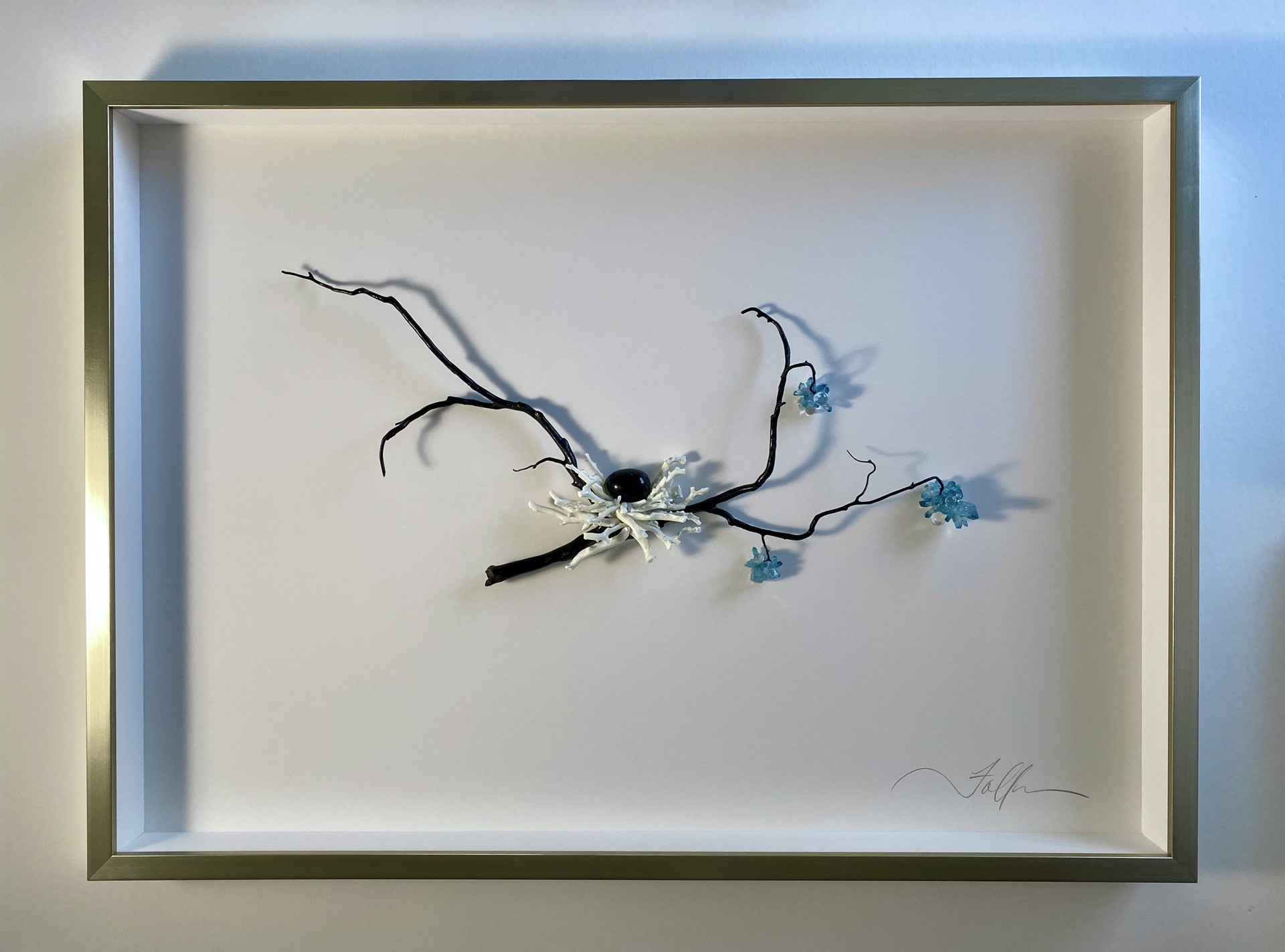 Nested Branch with Blue Blossoms by Fallon