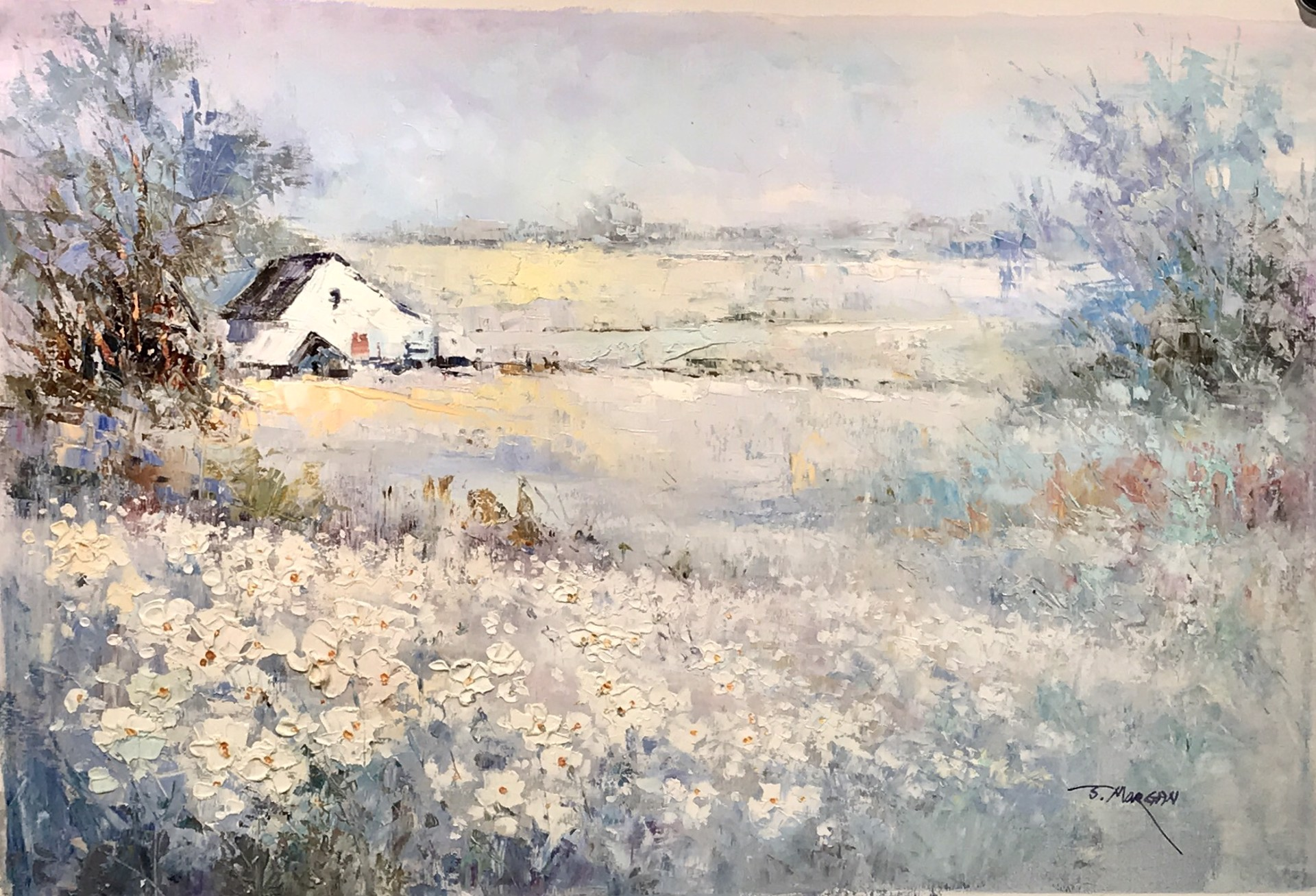 WHITE BARN FLOWERS FOREGROUND by J MORGAN