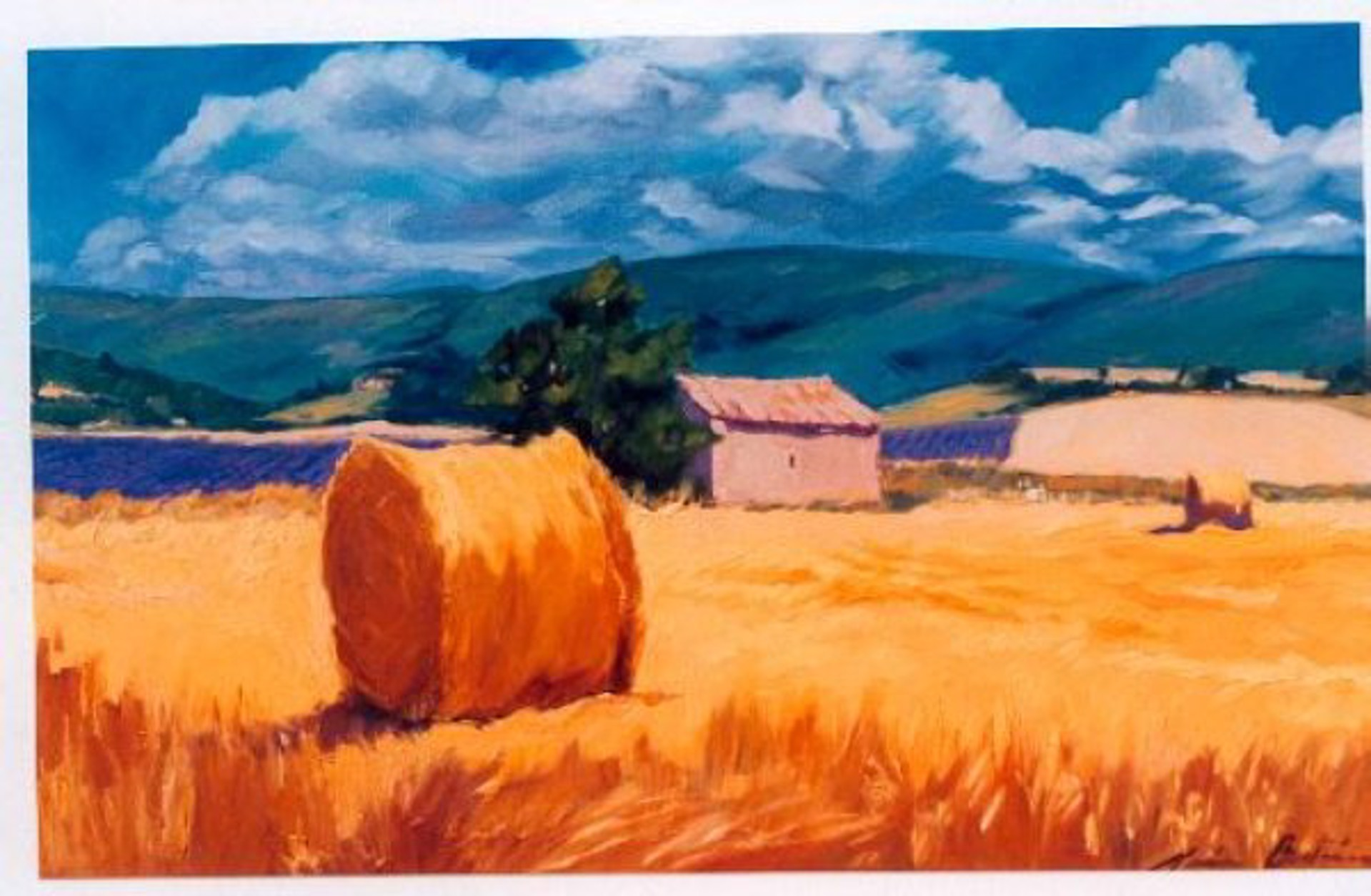 Hayrolls In The Lavender Field (Serigraph) by Maria Bertrán