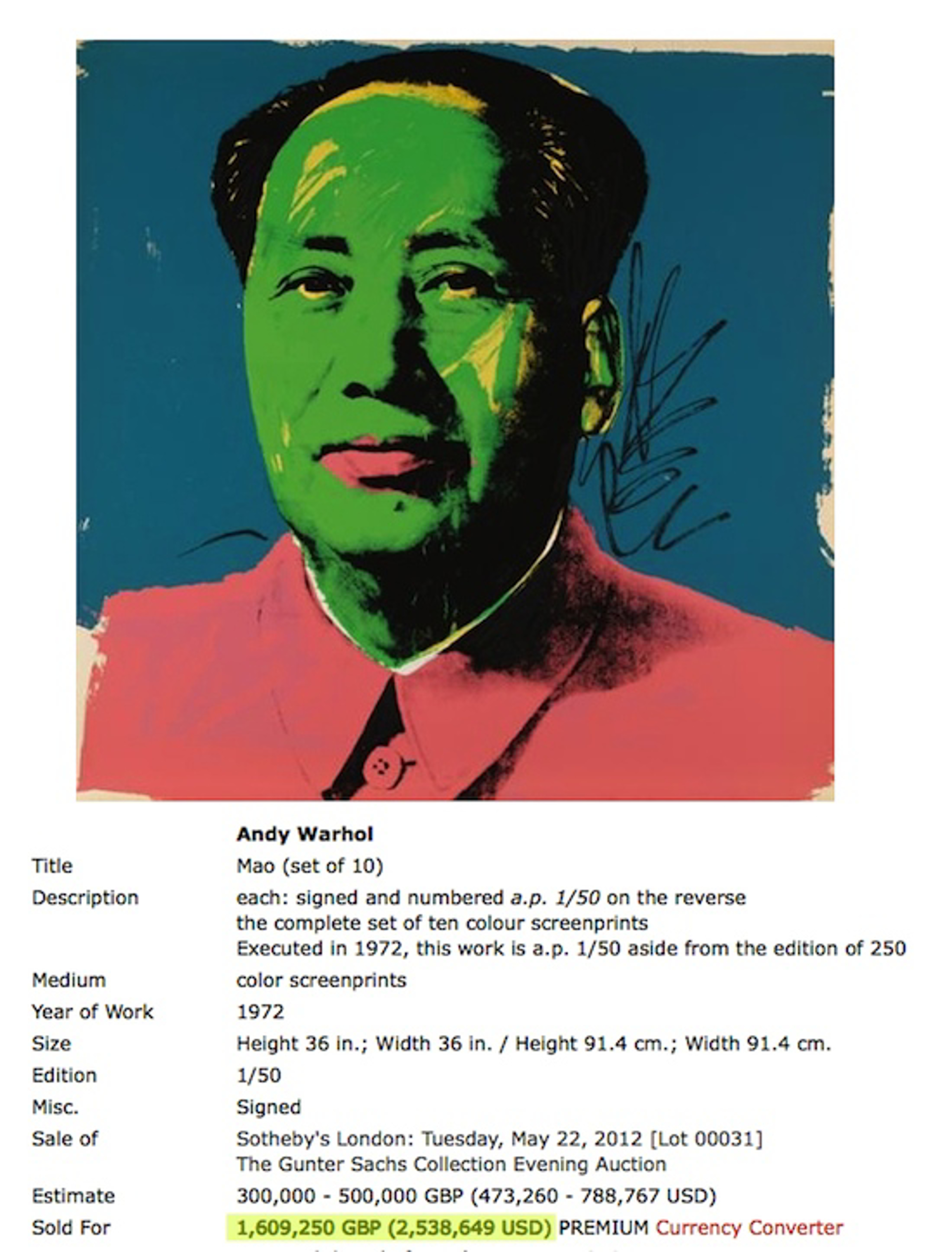 Mao (original suite, 10 works of art) by Andy Warhol