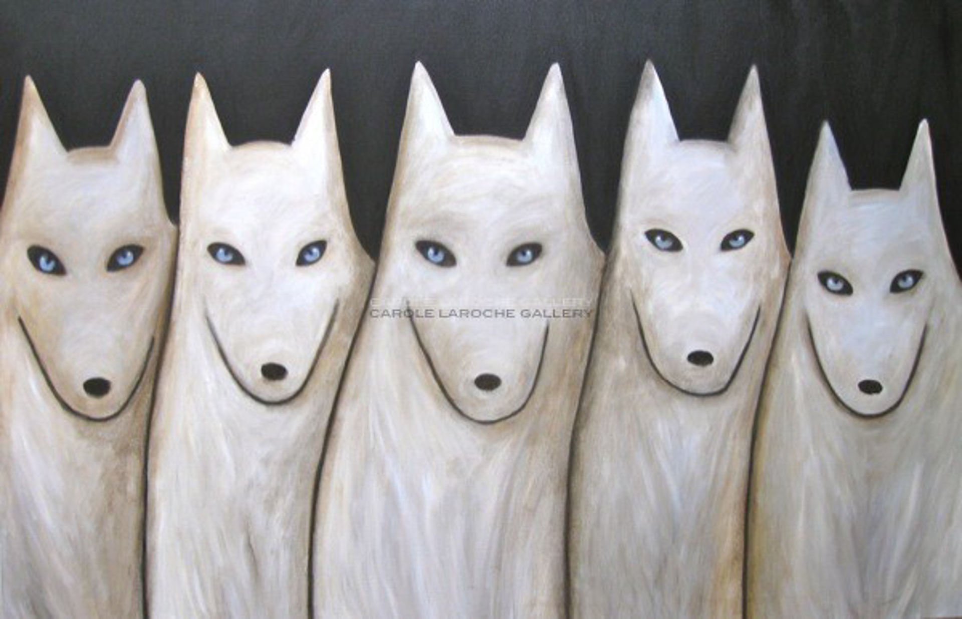 """NIGHT SKY/WHITE WOLF PACK  - limited edition giclee on canvas: (large) 40""""x60"""" $3500 or (medium) 27""""x40"""" $2200 by Carole LaRoche"""
