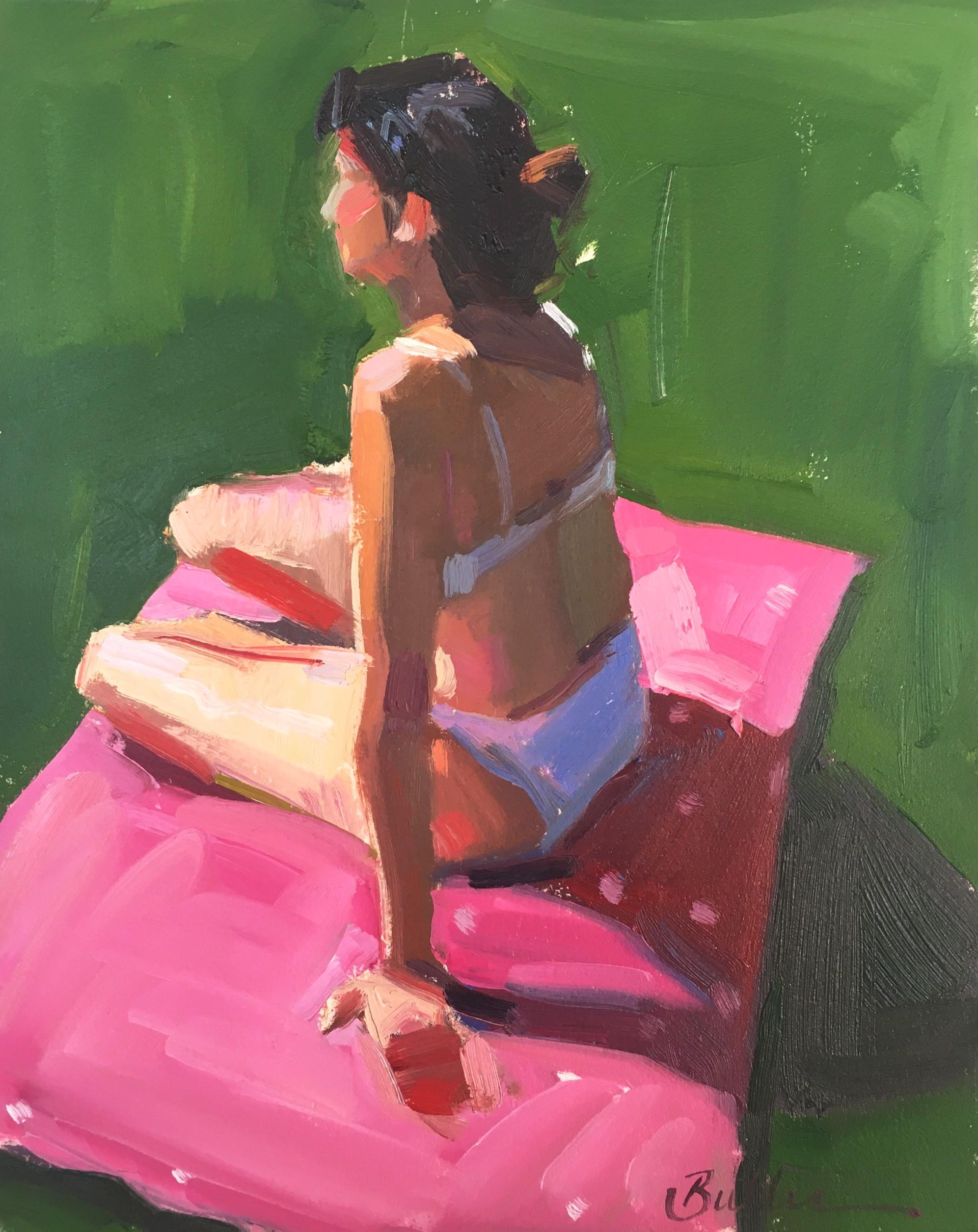 Pink Polka Dot Towel by Samantha Buller