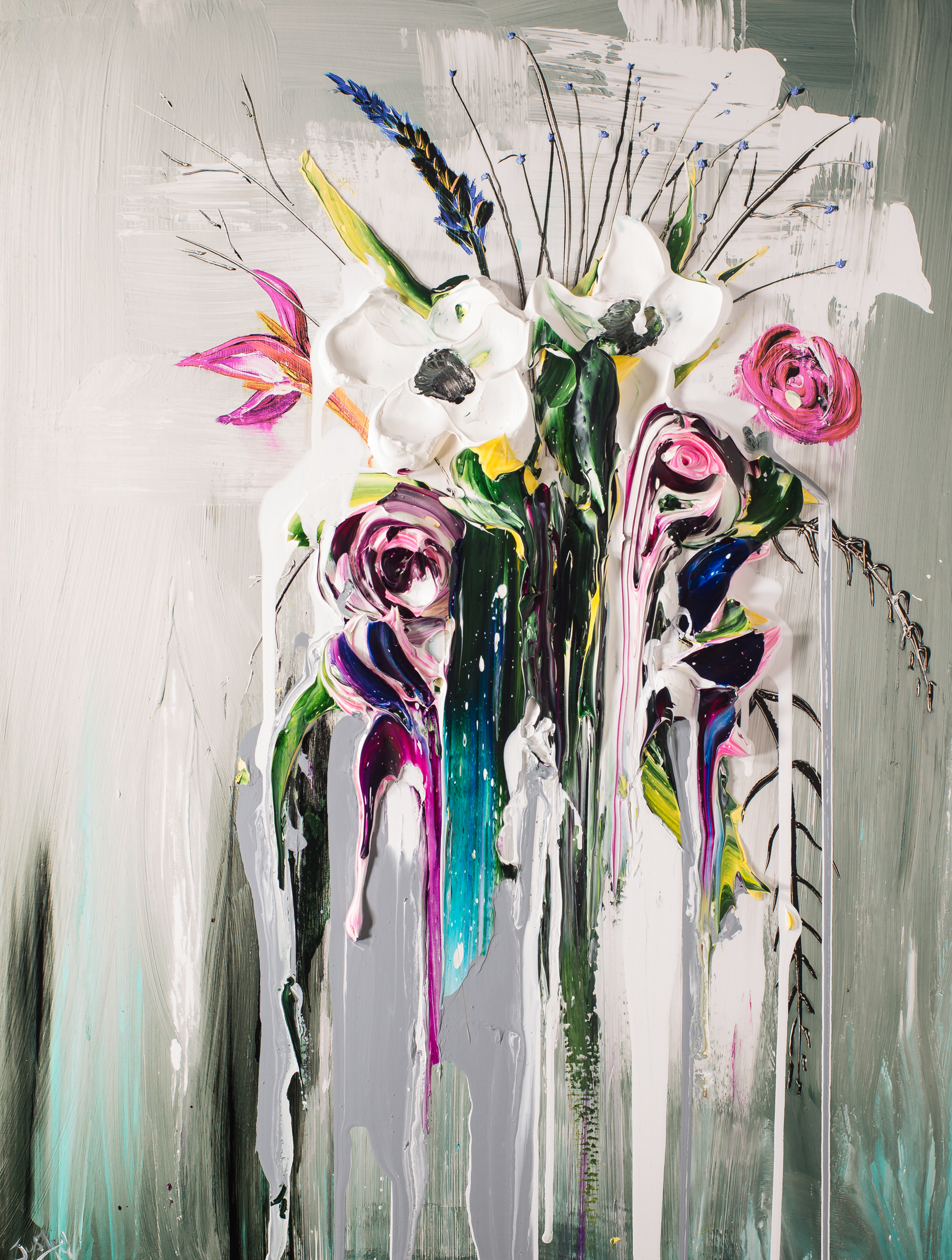 ABSTRACT FLORAL BOUQUET AFB30X40-2018-2.75NF HPAE 5/50 by Justin Gaffrey