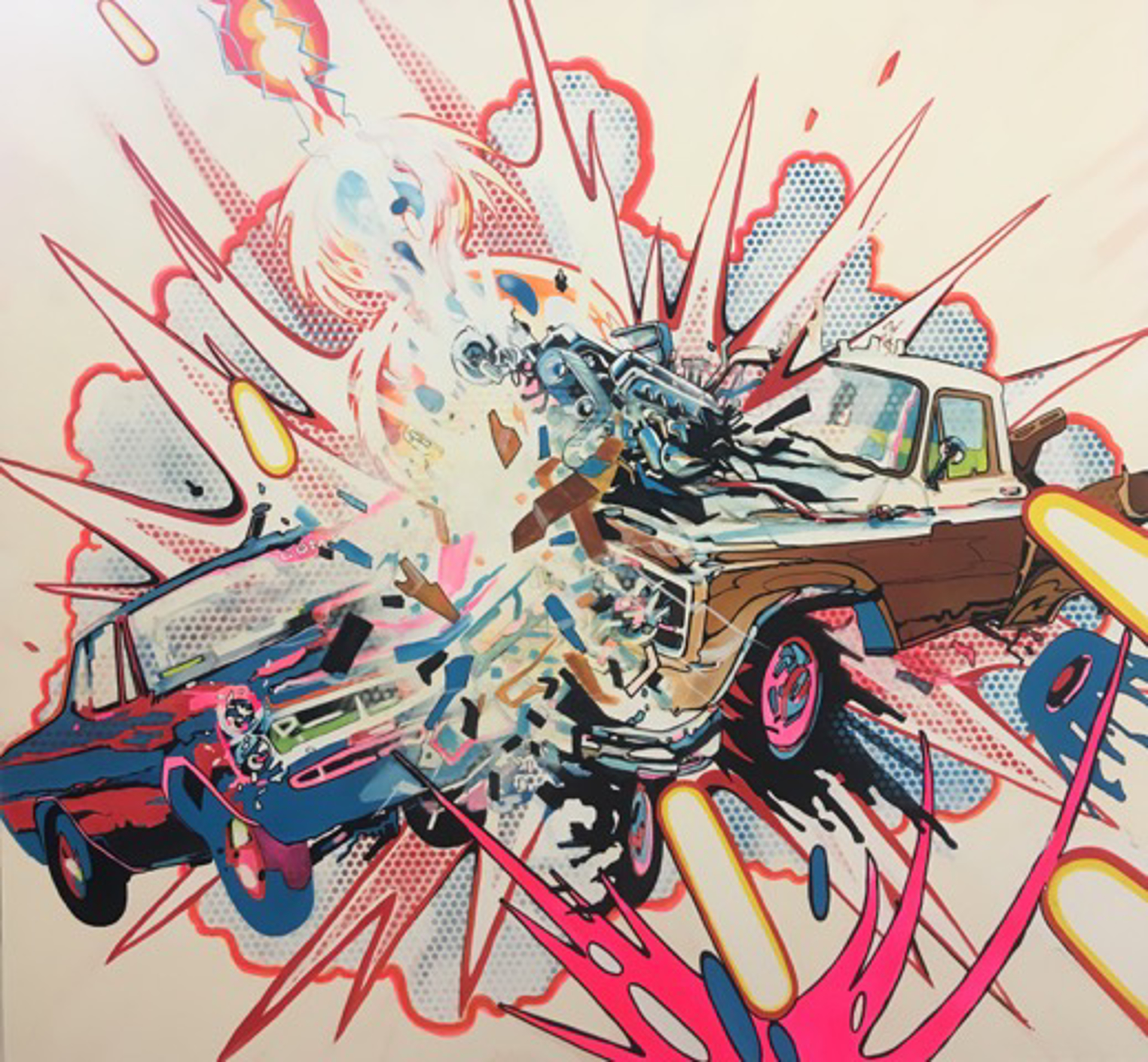 Car and Truck Crashing with Random Cosmic Laser Beam by Joe Currie
