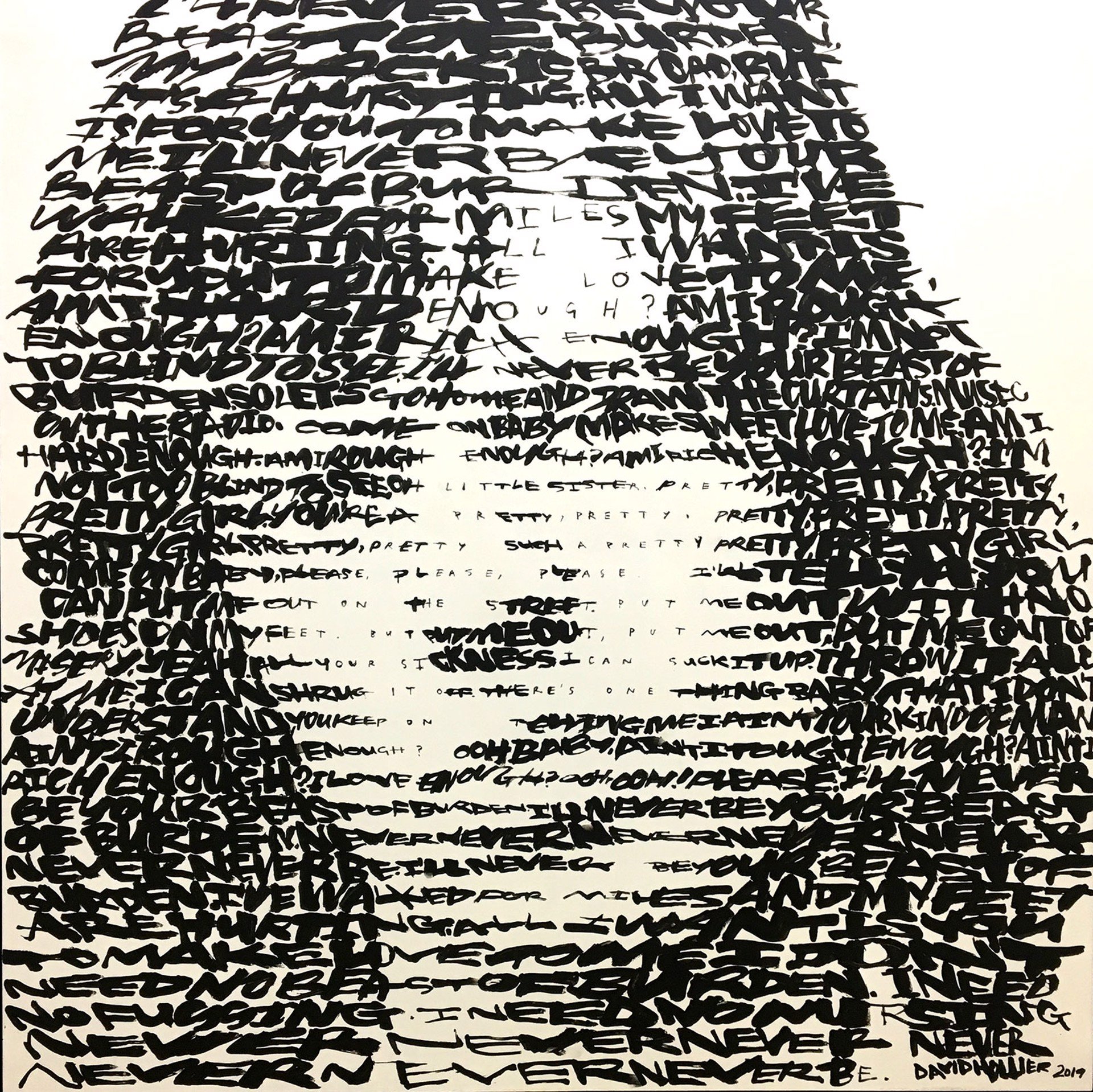 Mick Jagger - (text: 'Beast of Burden' by the Rolling Stones) by David Hollier