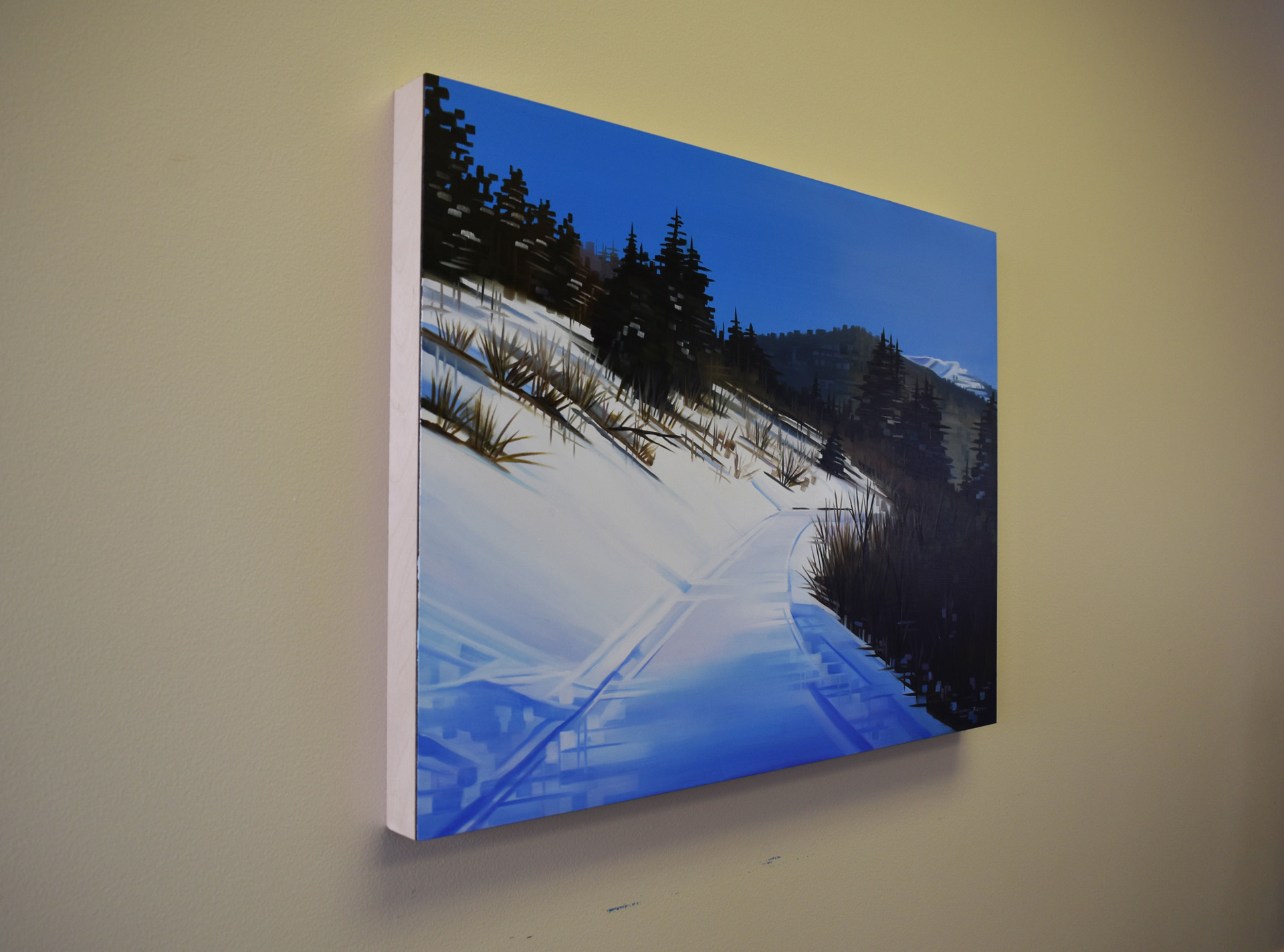 Landscape Oil painting by Michelle Condrat   Title: Winter Journey   Year created: 2020   Medium Oil on panel Size: 8 x 24 in Price: $3,200.00