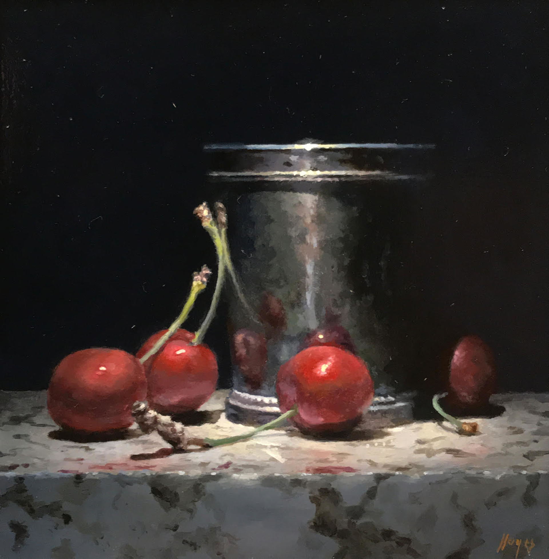 Red Cherries, Silver Cup by Jeffrey Hayes