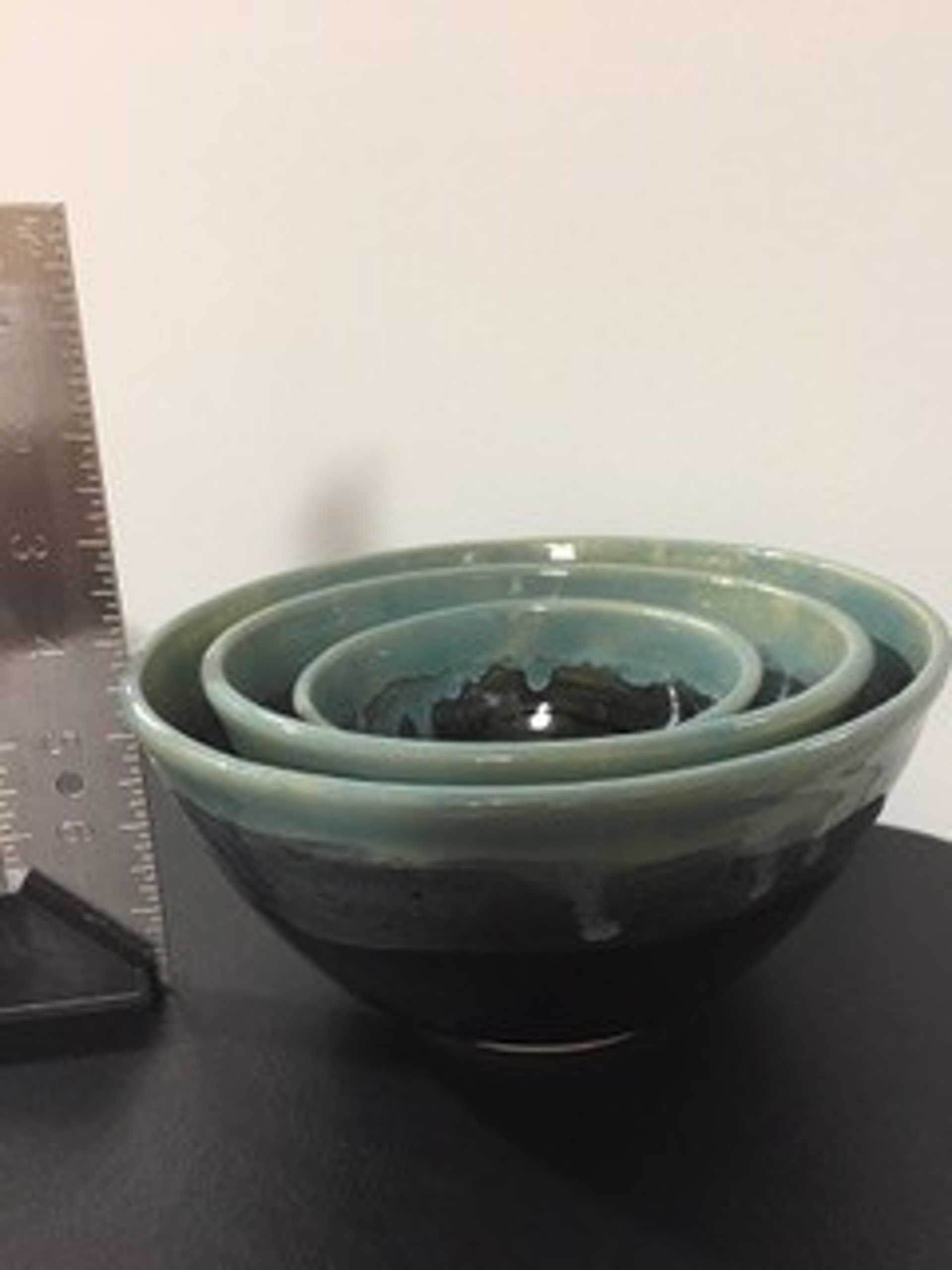 White and Teal Nesting Bowls by Teddie Ammon (Beaverton, OR)