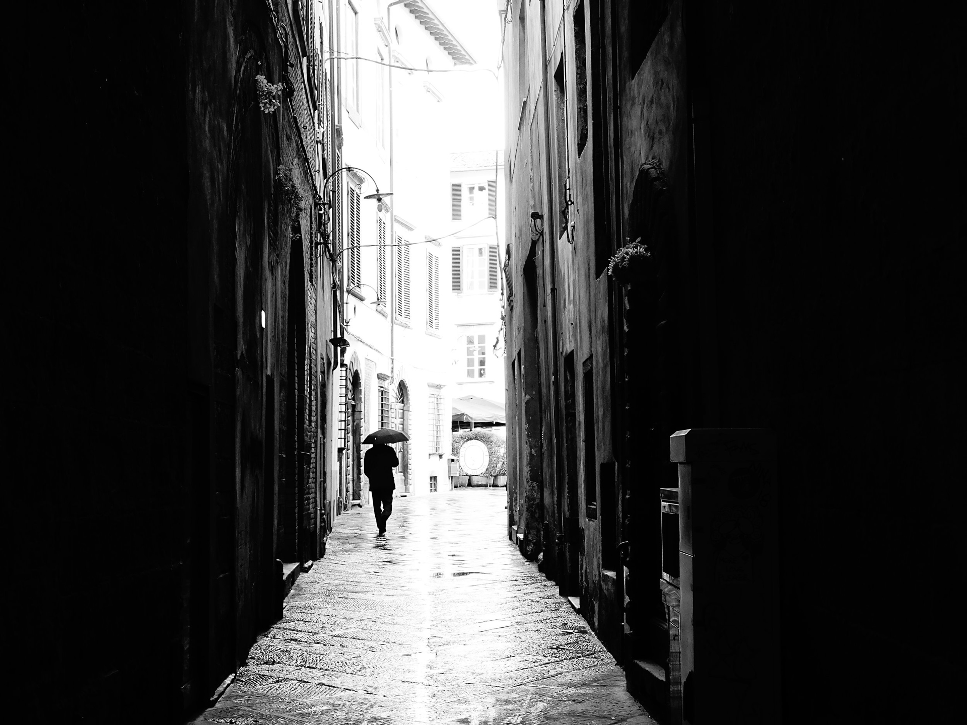 Walking in the Rain, Lucca by Stacy Widelitz