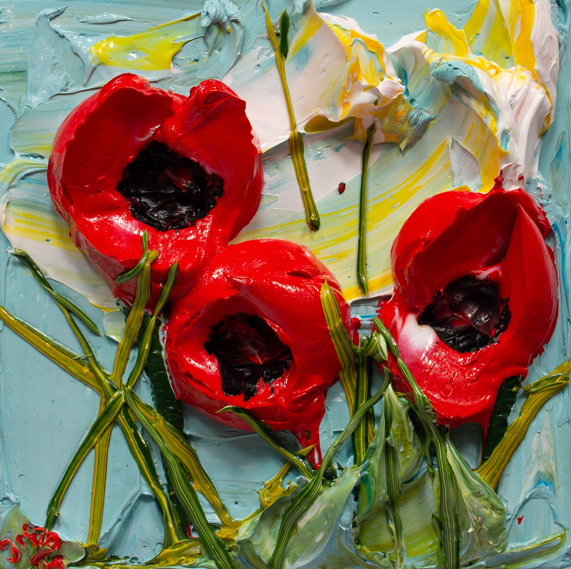 POPPY FLOWERS-PF-12X12-2019-180 by JUSTIN GAFFREY