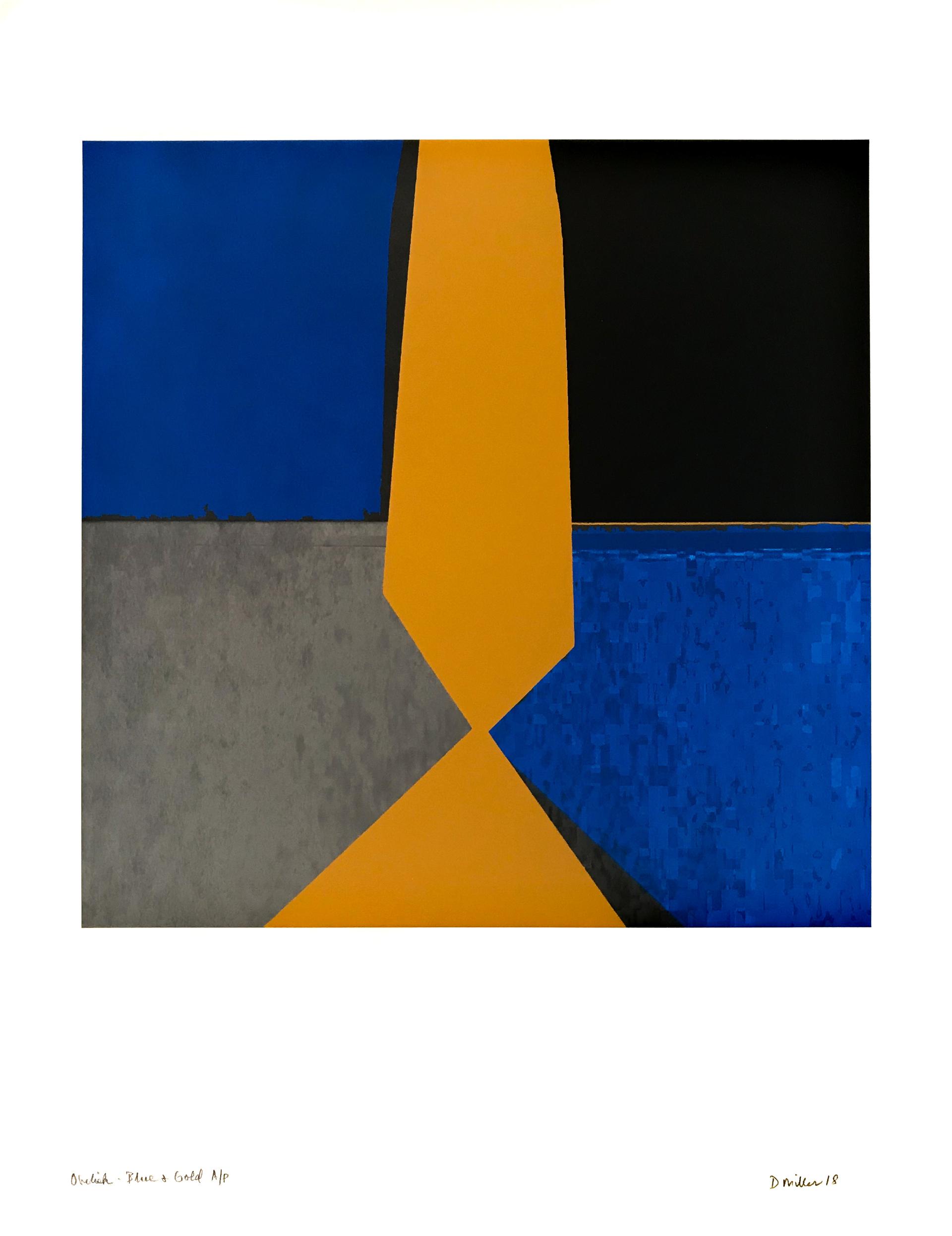 Obelisk - Blue & Gold by David Miller