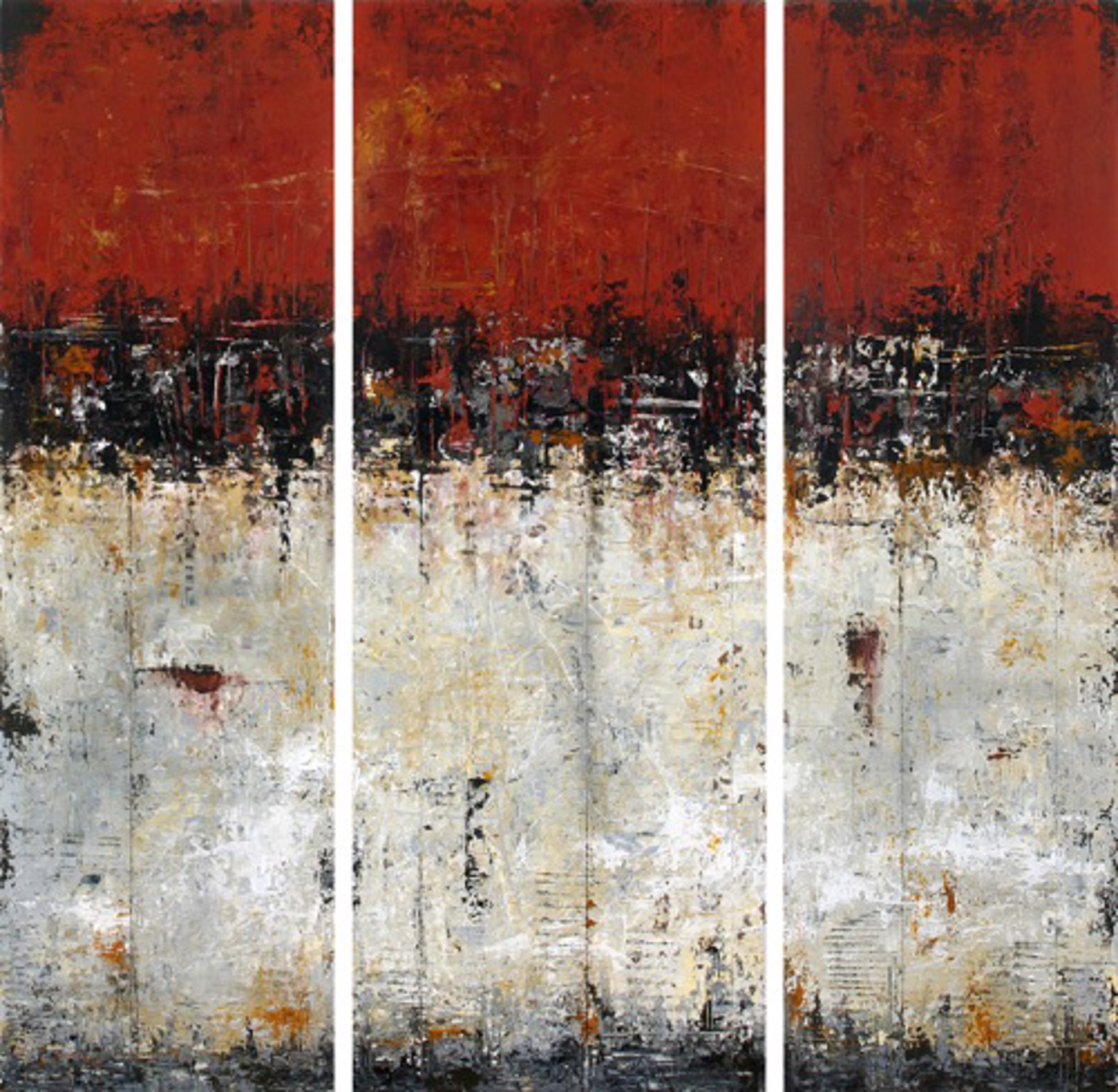 Red Wall for Frida - triptych by Patricia Oblack