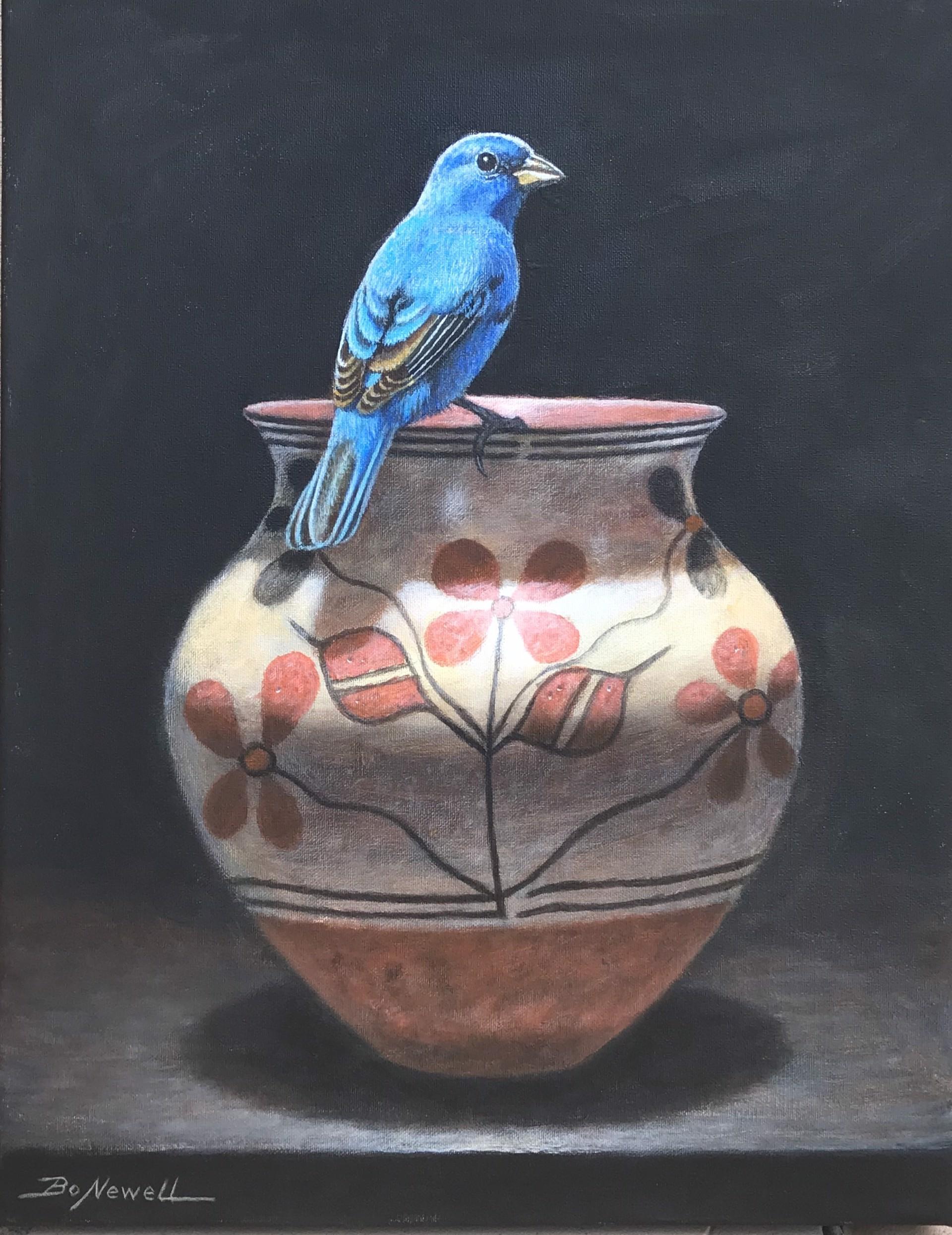 Indigo Bunting Atop Pot by Bo Newell