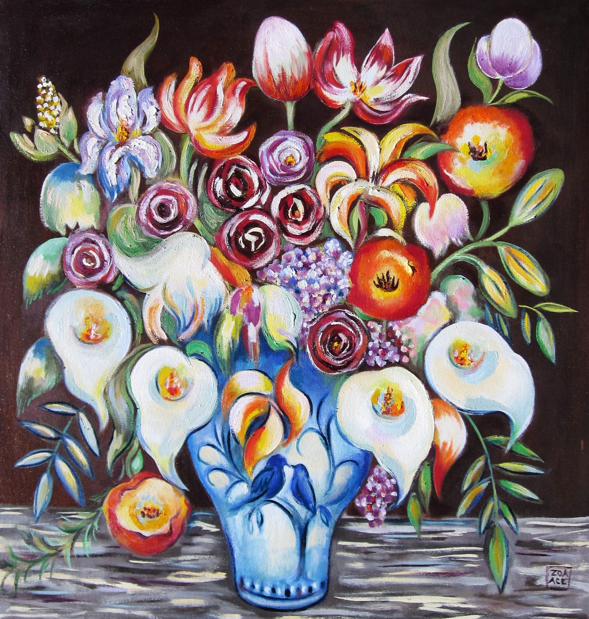 Flowers in a Bird Vase by Zoa Ace