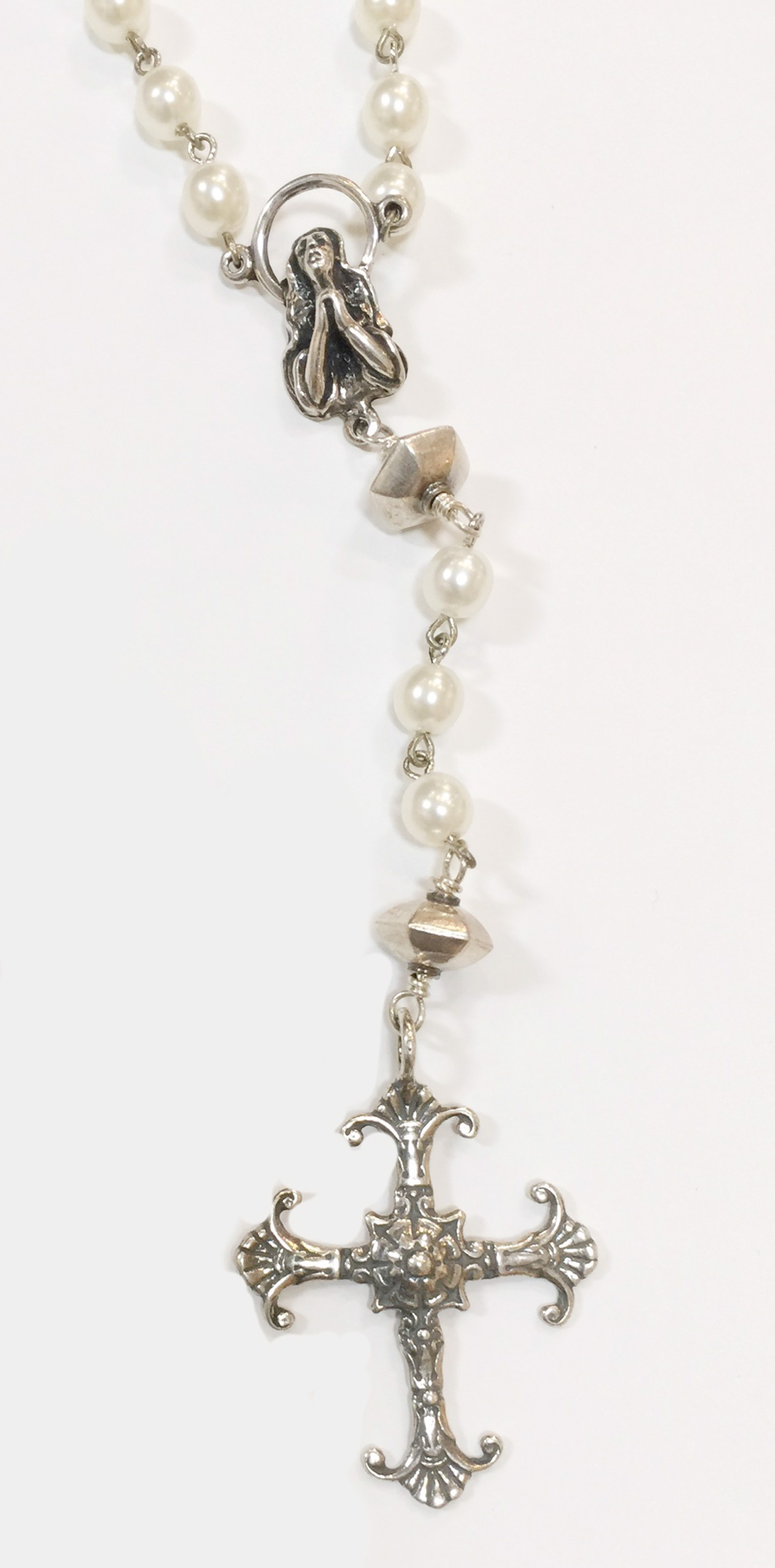 Necklace - Rosary of Pearl & Silver 8447 by Deanne McKeown