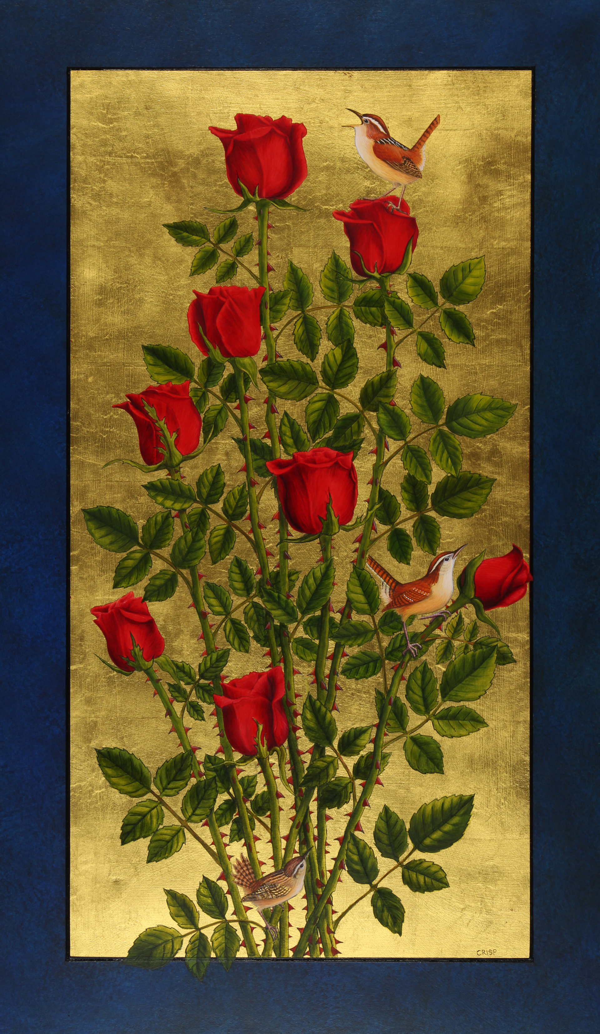 Wrens and Red Roses by Margie Crisp