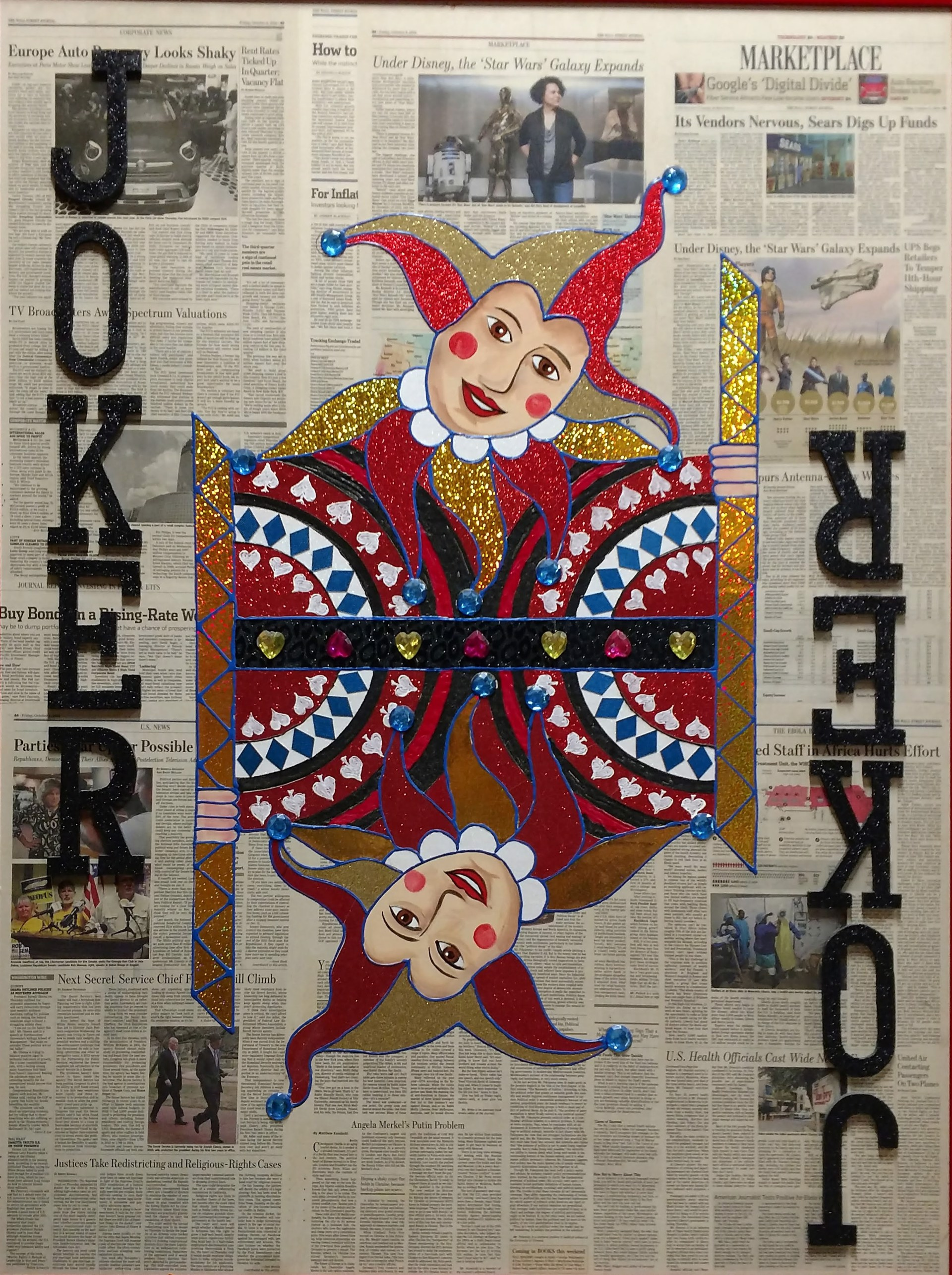 """Joker"" Poker Cards on Wall Street Journal by Elena Bulatova"