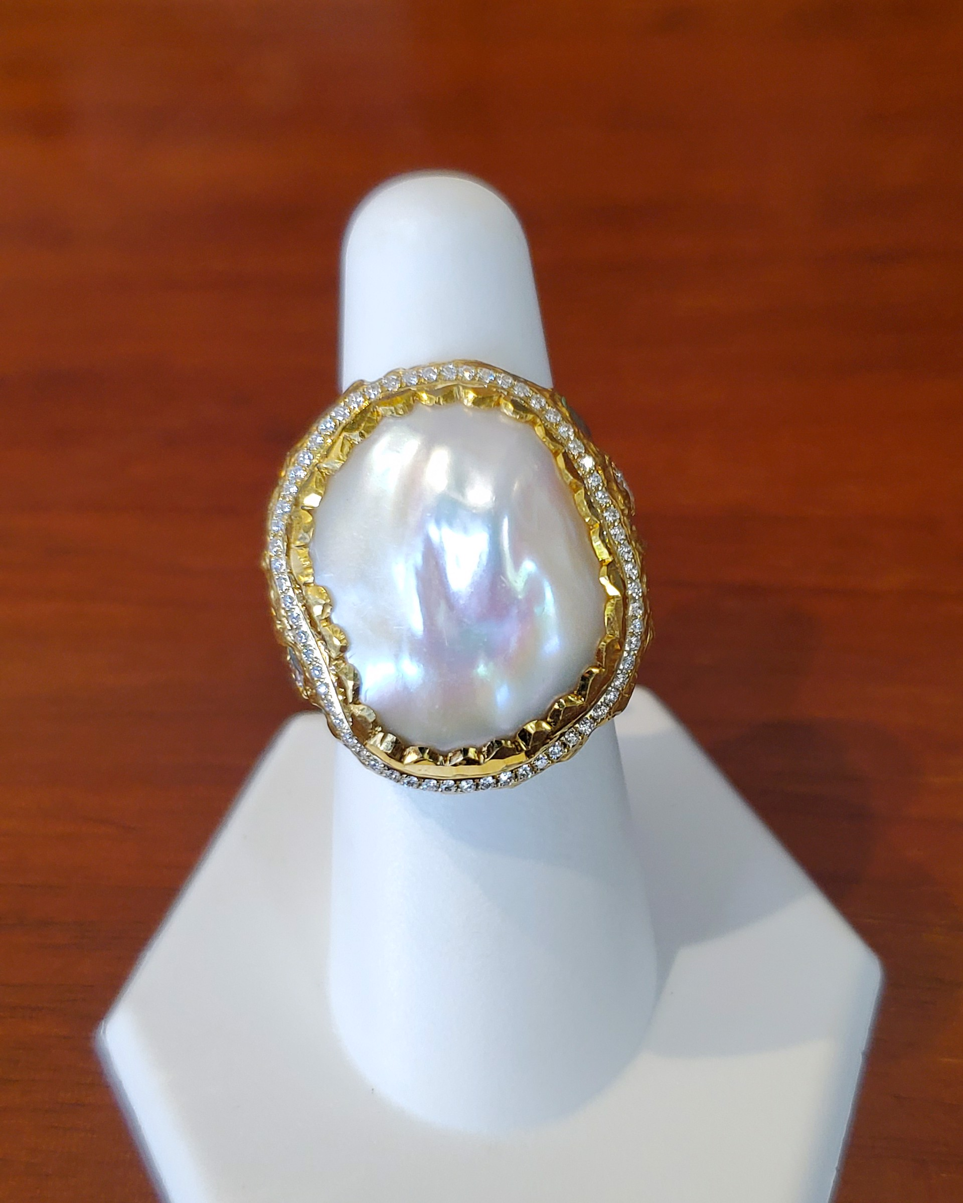 Free Form Pearl Ring by Victor Velyan