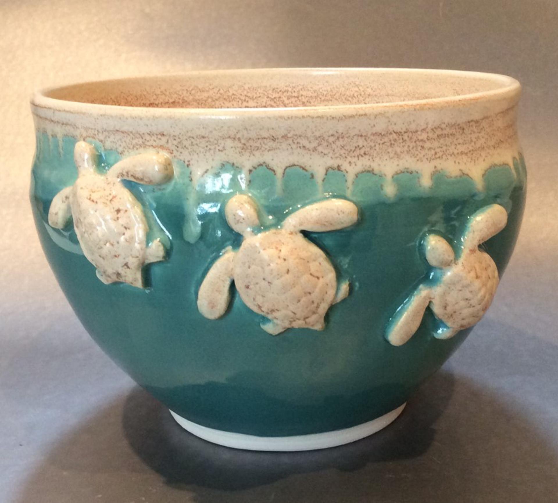 Turquoise bowl with turtles by Ilene Olanoff