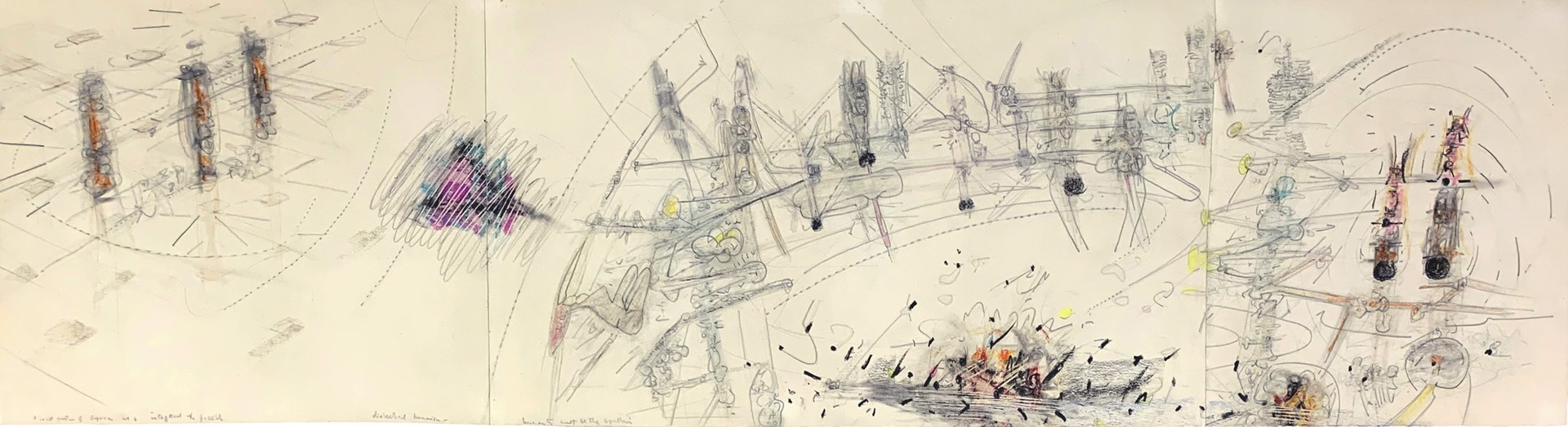 Roberto Matta drawing titled It's Not A Question of Superman made in 1950 that is made from graphite and color crayon on paper illustrating a sparse metaphysical and psychological innerscape dreamscape of floating elements