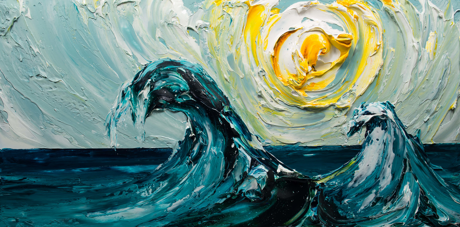 Seascape of Waves SS-60X30-2019-157 by JUSTIN GAFFREY