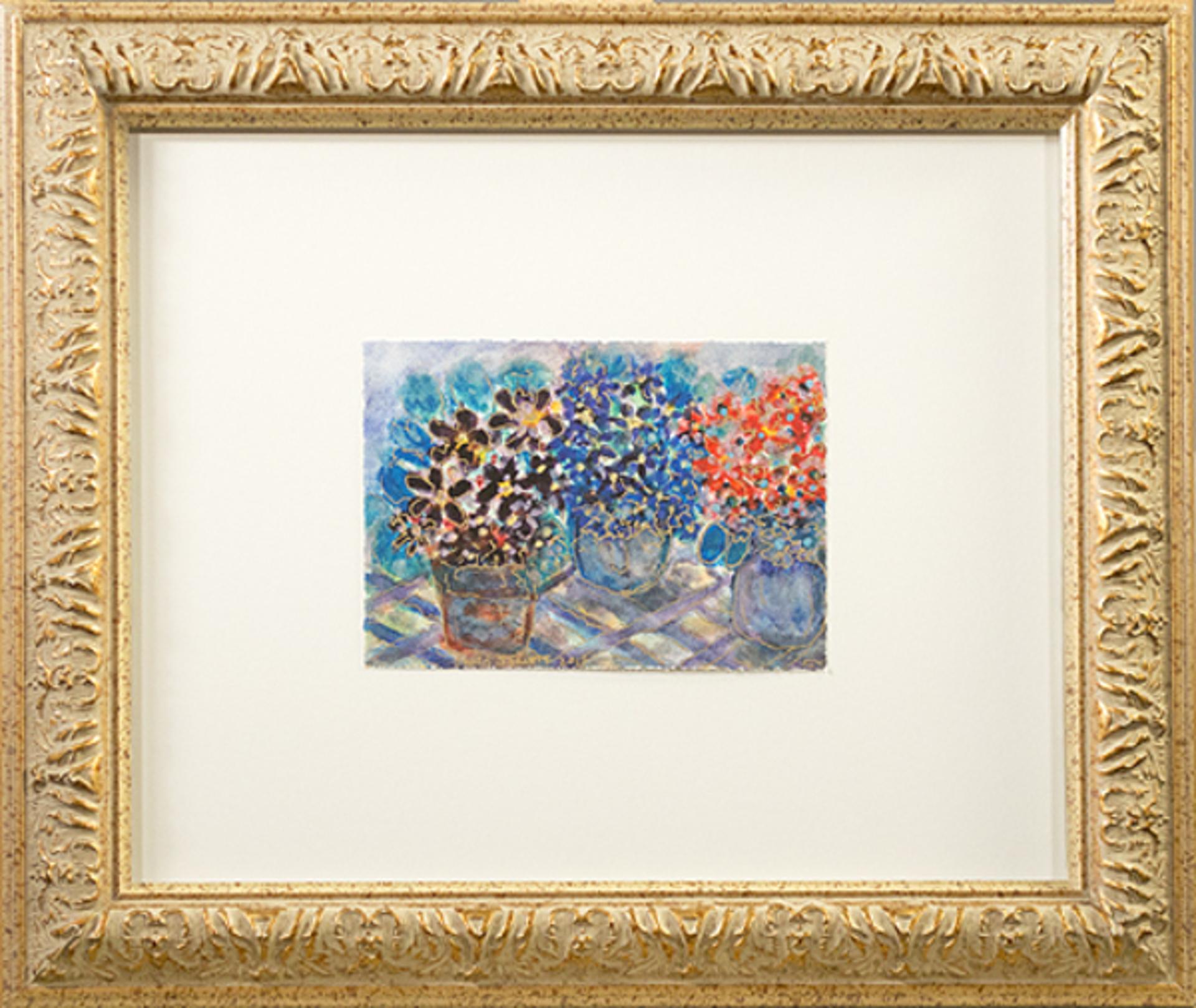 Triple Studio Golden African Violets by David Barnett