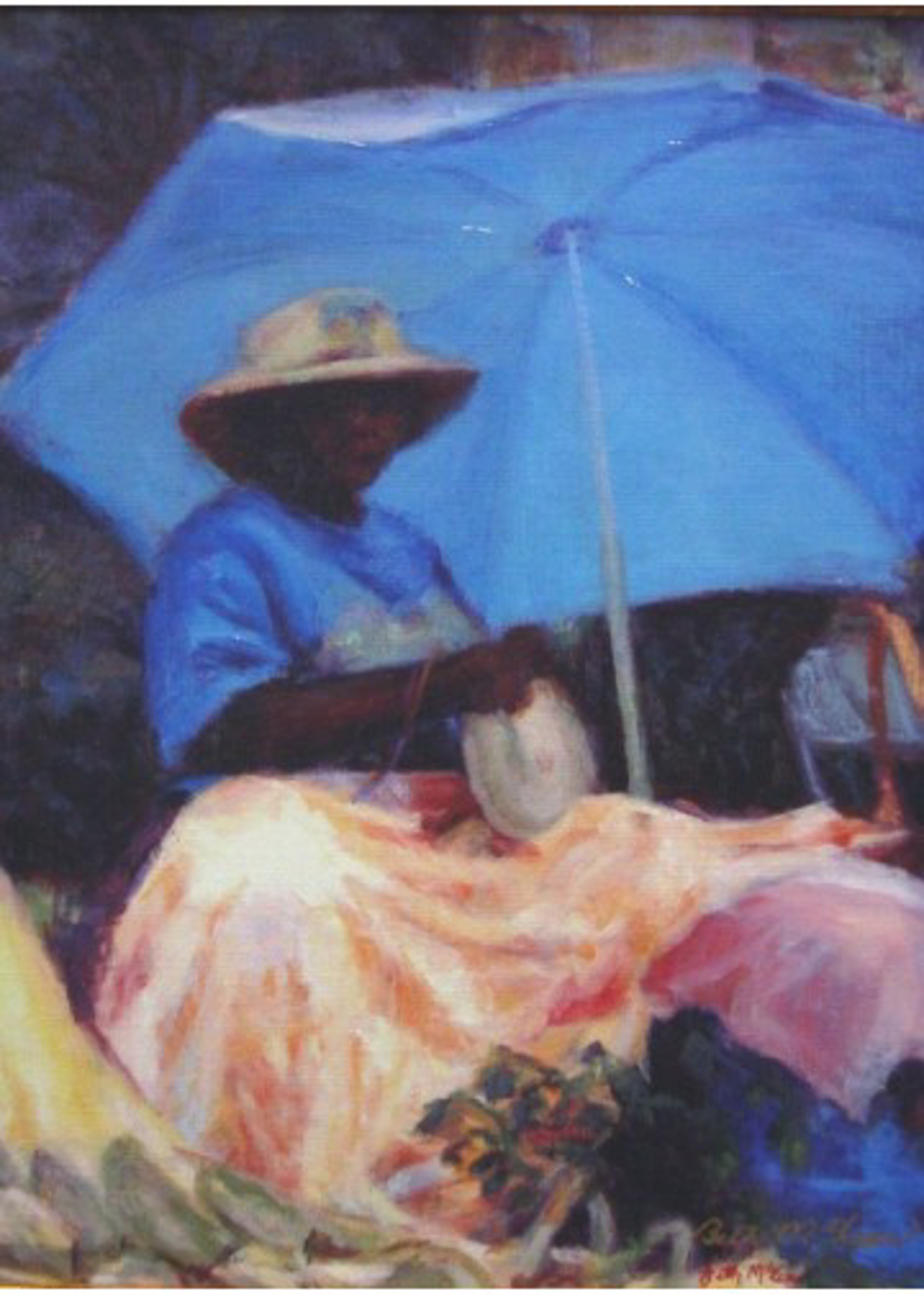 Basket Lady with Blue Umbrella by Beth McLean -- Giclee Prints