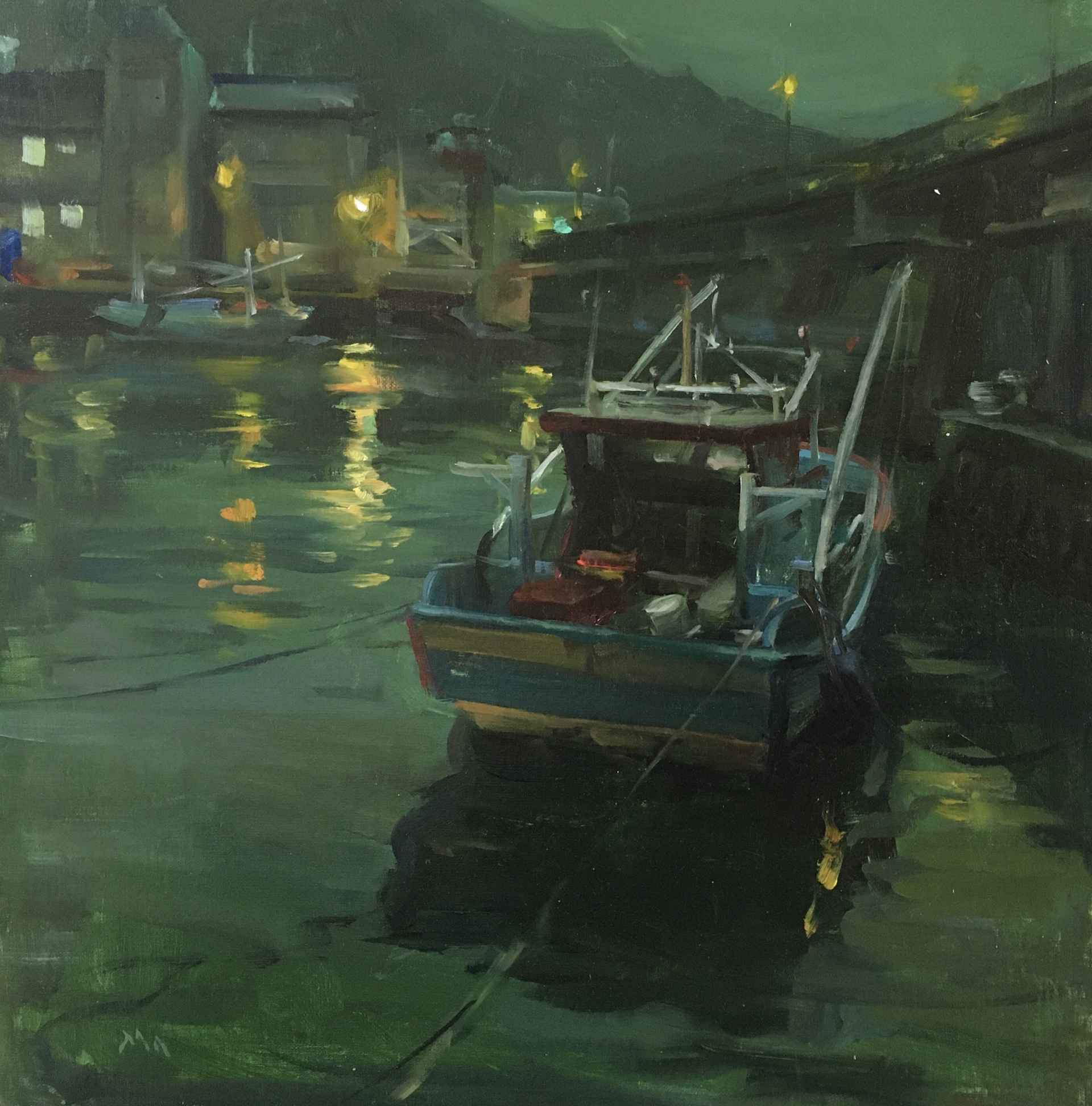 Keelung Harbor Nocturne in Green by Kyle Ma