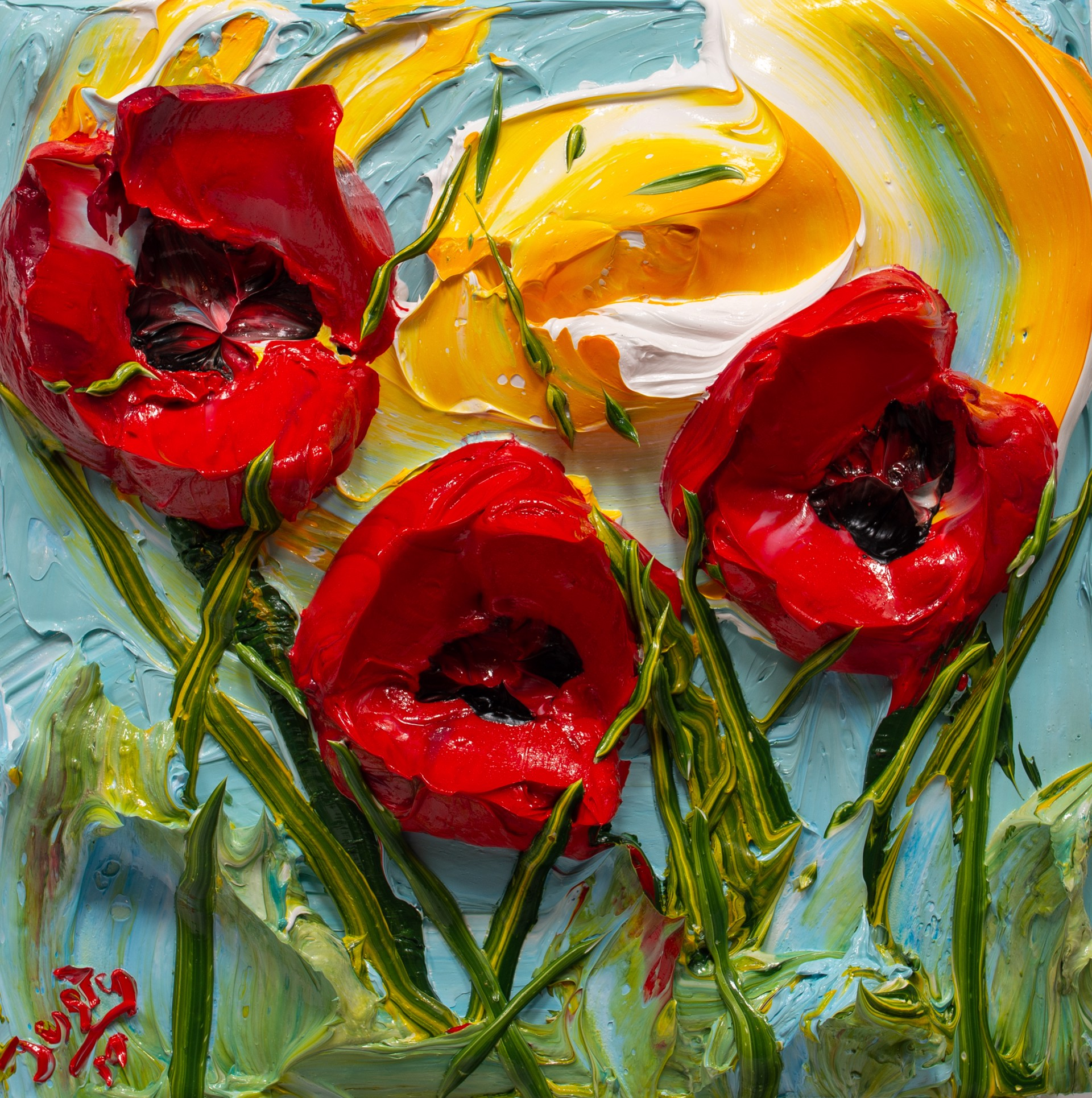 POPPY FLOWERS-PF-12X12-2019-172 by JUSTIN GAFFREY
